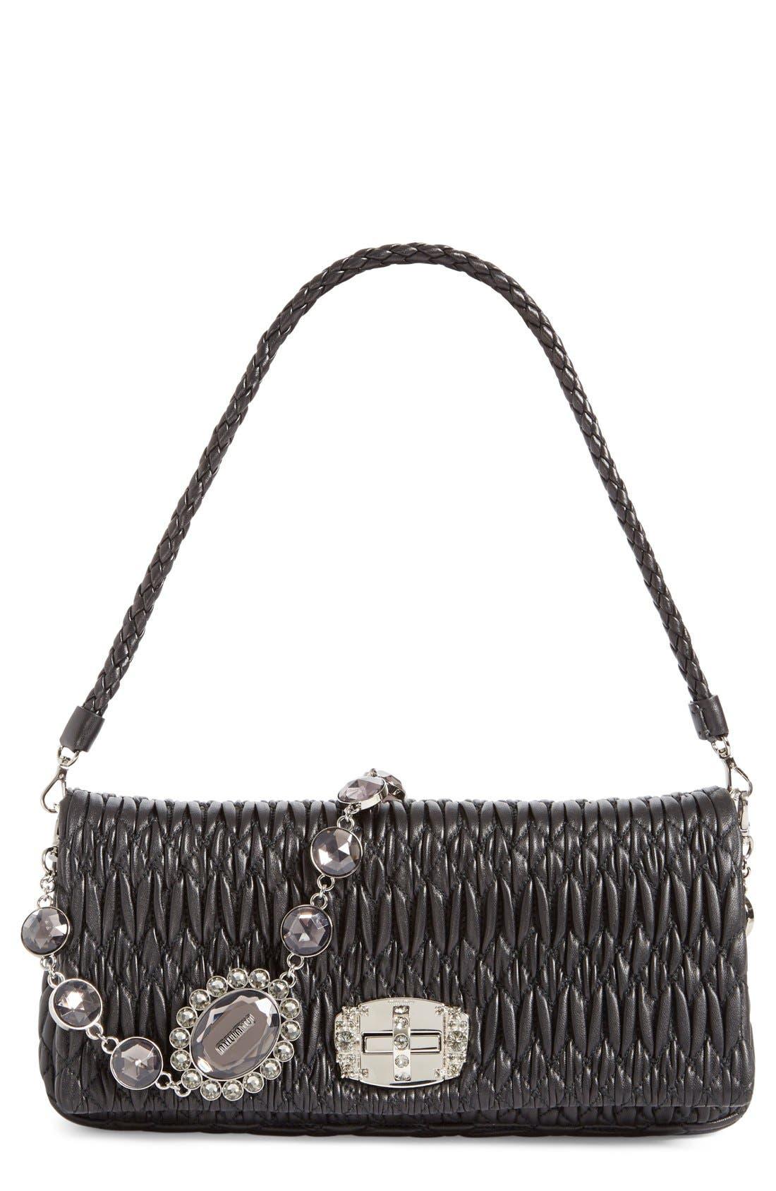 MIU MIU Medium Swarovski Crystal Chain Leather Shoulder Bag
