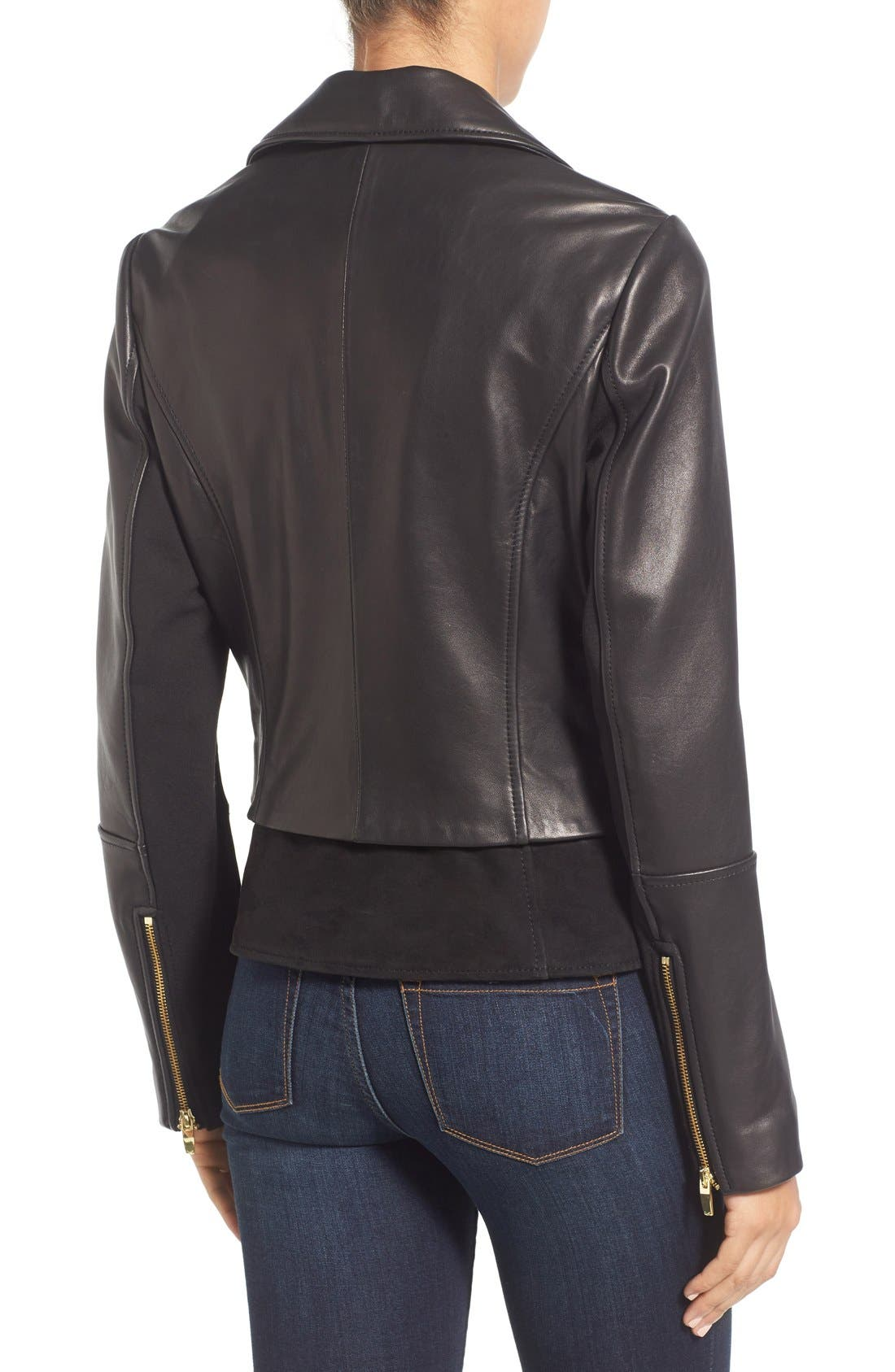 Mixed Media Leather Moto Jacket,                             Alternate thumbnail 2, color,                             Black