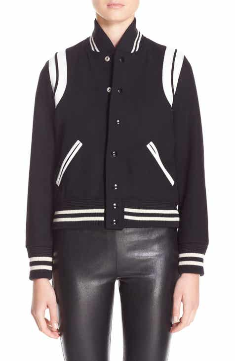 40b3ca3e9e90 Saint Laurent  Teddy  White Leather Trim Bomber Jacket