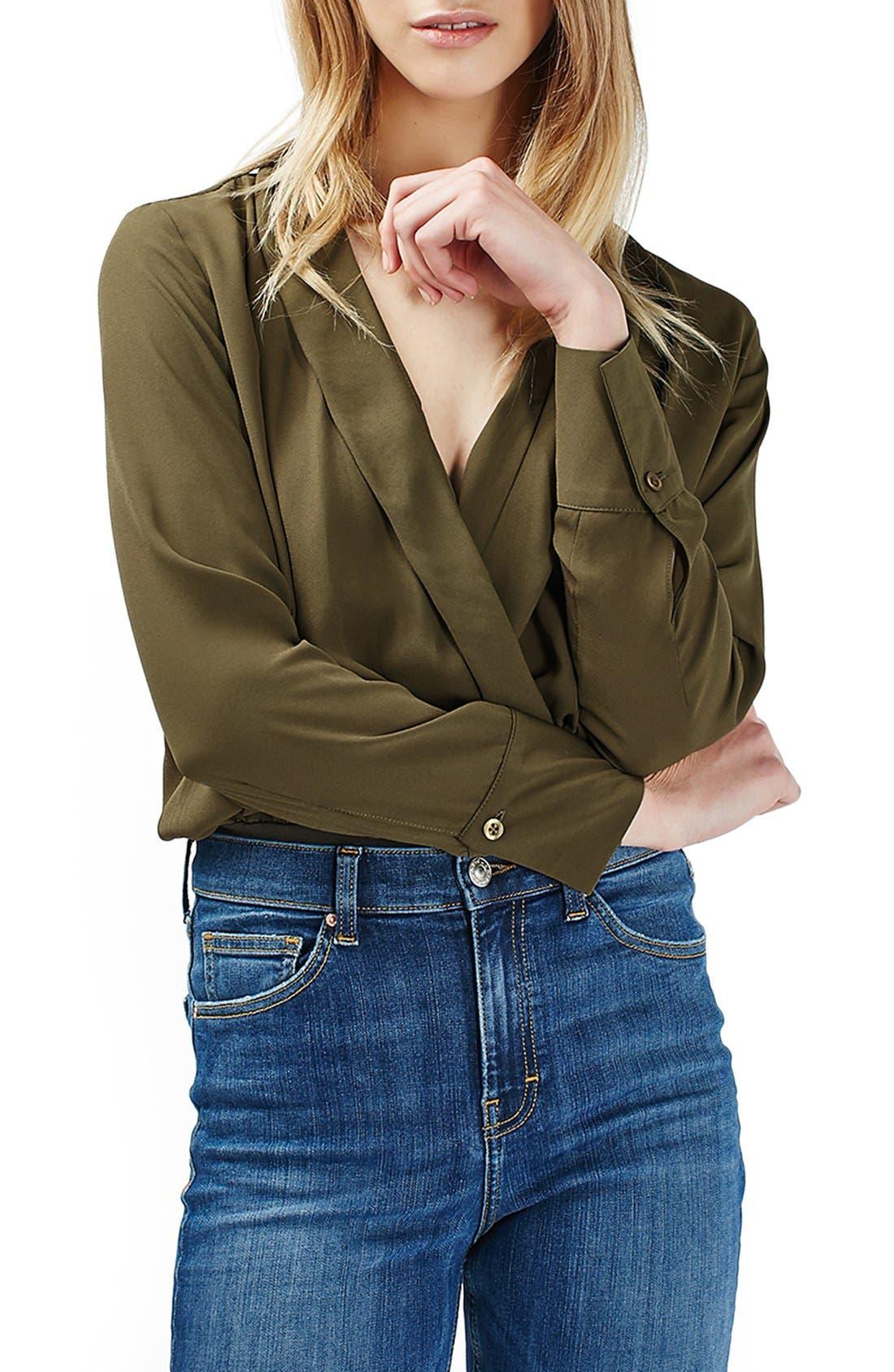 Main Image - Topshop Faux Wrap Shirt Bodysuit