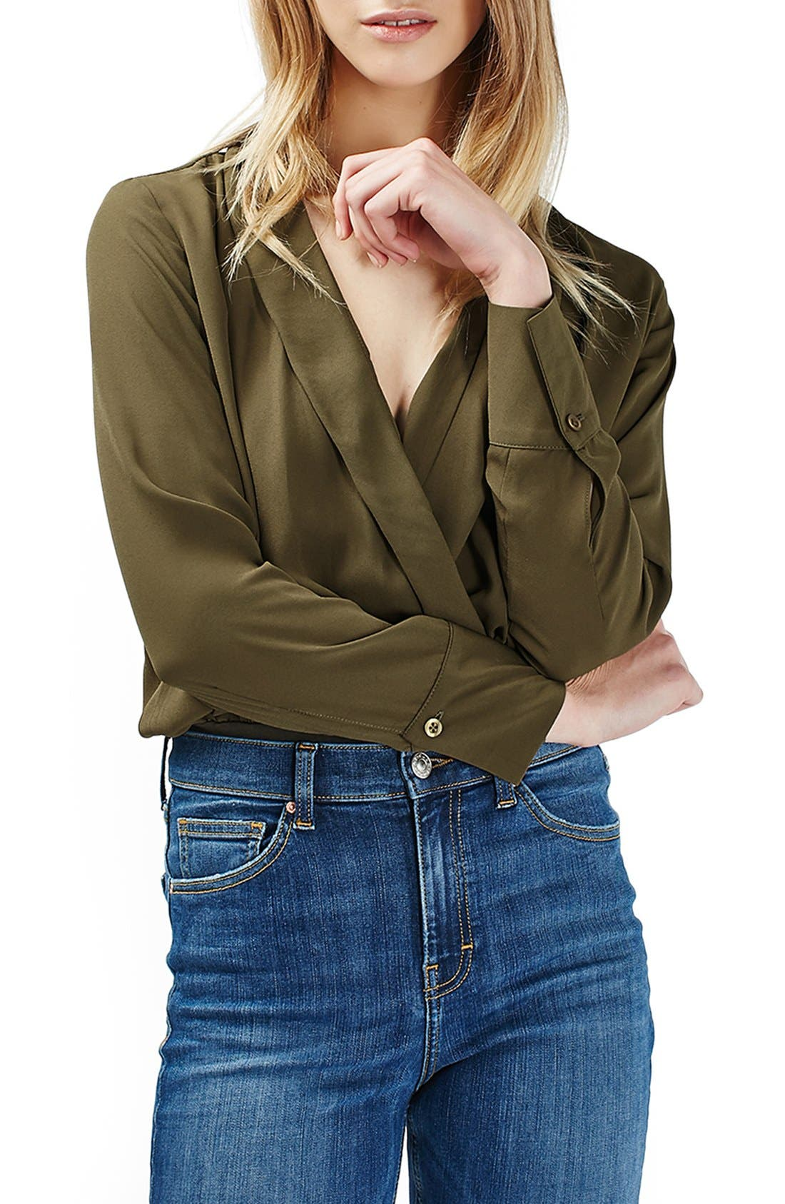 Faux Wrap Shirt Bodysuit,                         Main,                         color, Olive
