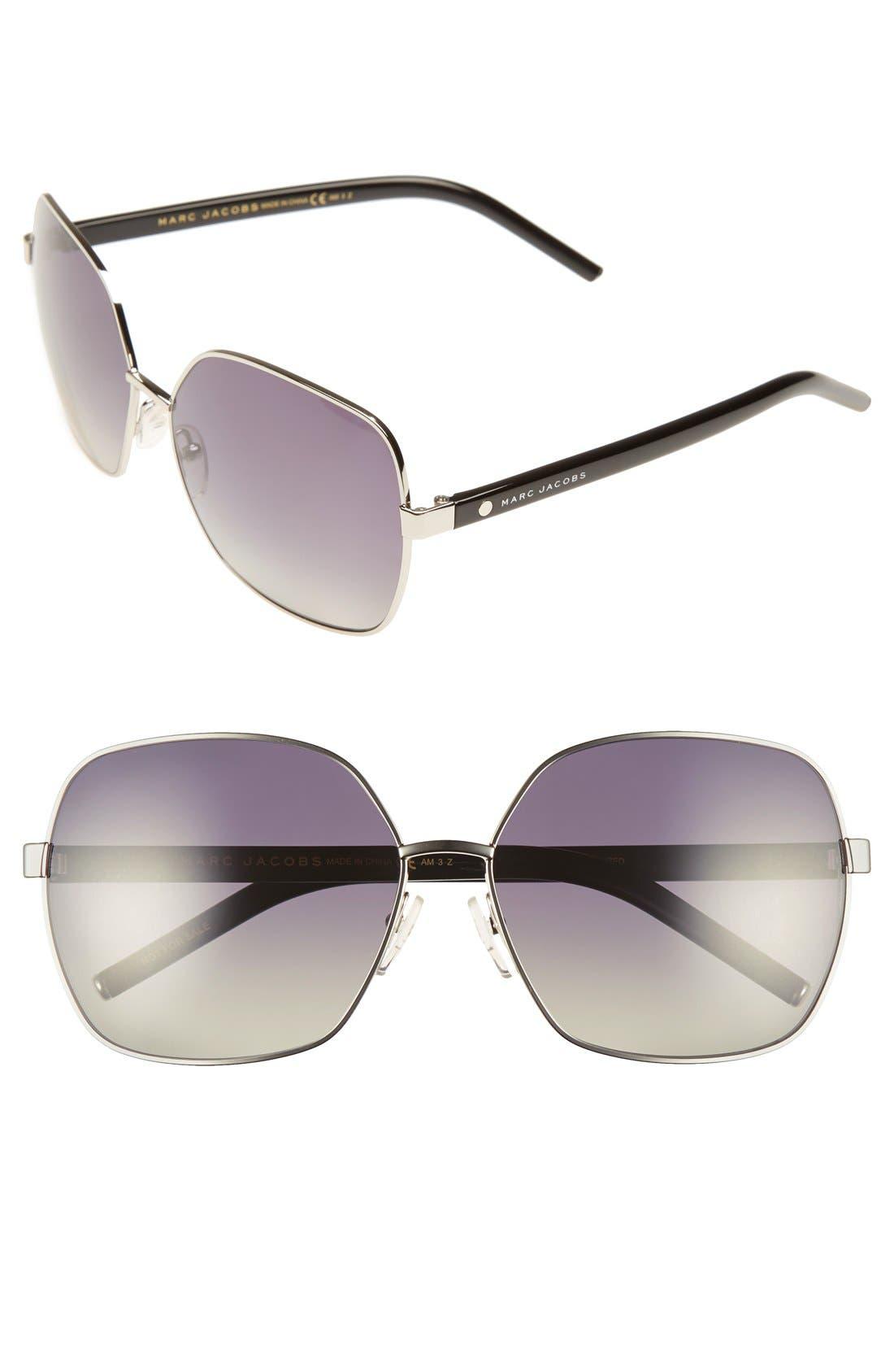 61mm Polarized Oversized Sunglasses,                             Main thumbnail 1, color,                             Palladium/ Black