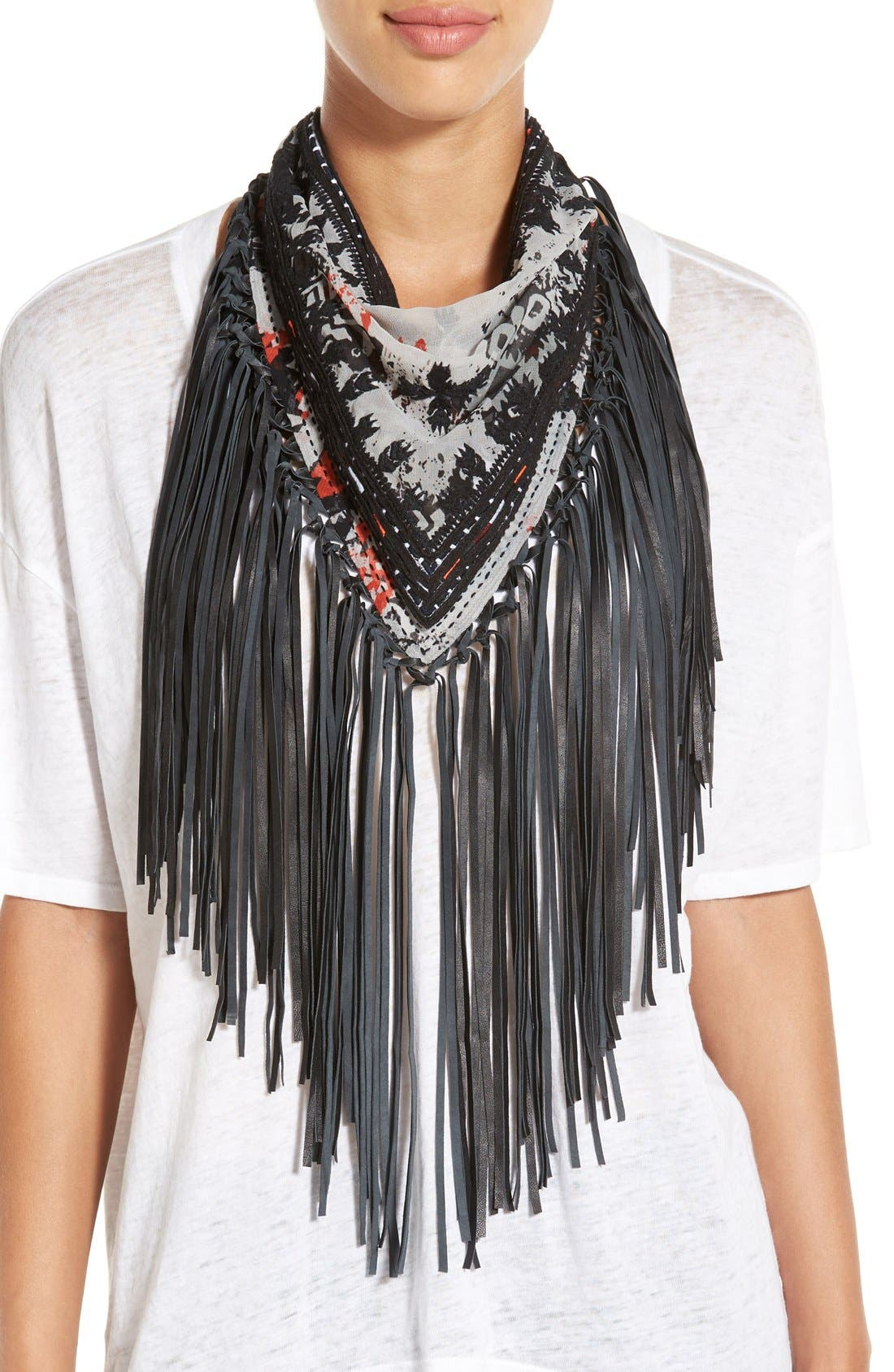 Main Image - Steve Madden Leather Fringe Neckerchief