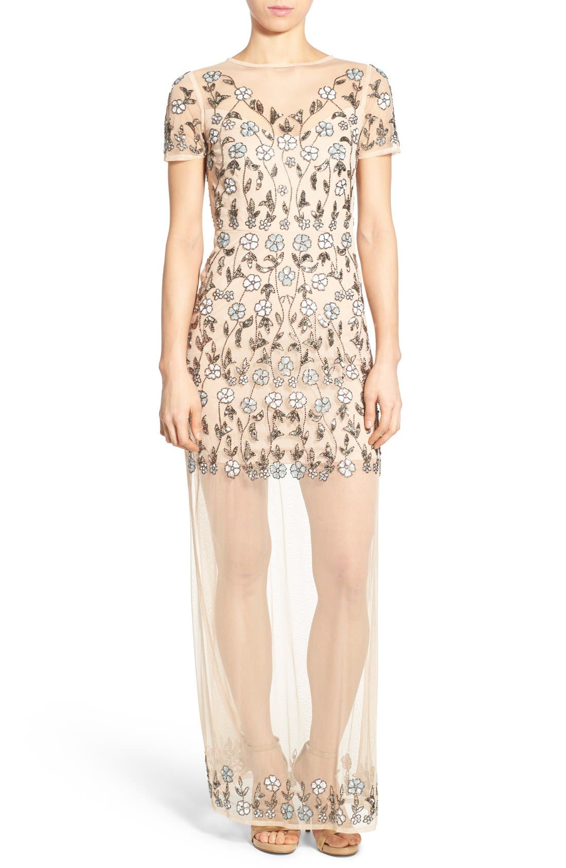 Main Image - Missguided Embellished Floral Mesh Maxi Dress