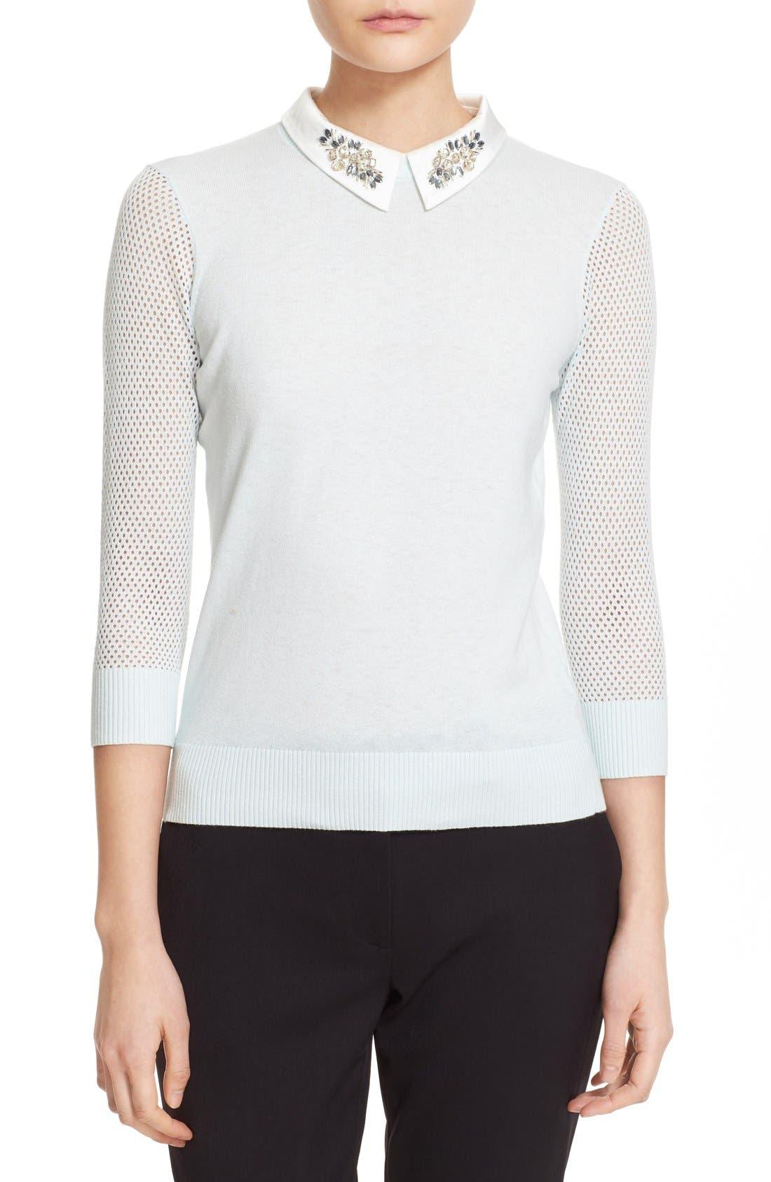 Main Image - Ted Baker London Embellished Collar Mesh Sleeve Sweater