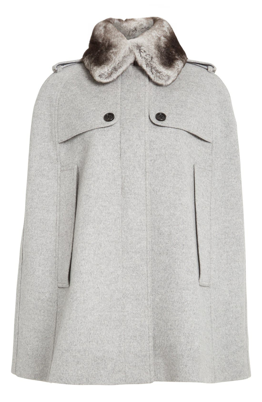 Alternate Image 4  - Burberry 'Wolseley' Wool & Cashmere Trench Cape with Removable Genuine Rabbit Fur Collar