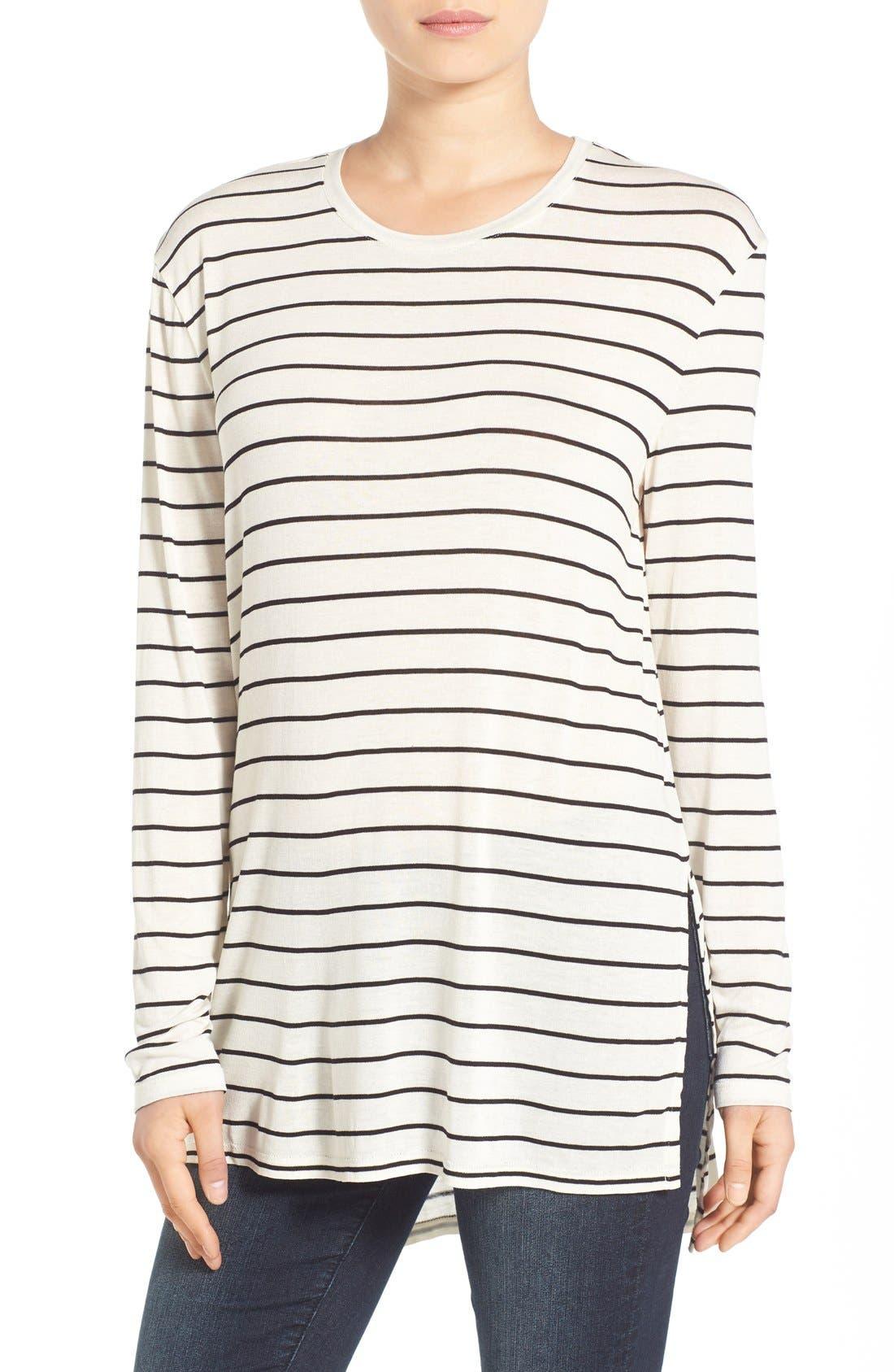 Stripe Long Sleeve Crewneck Tee,                         Main,                         color, Ivory Jenna Stripe