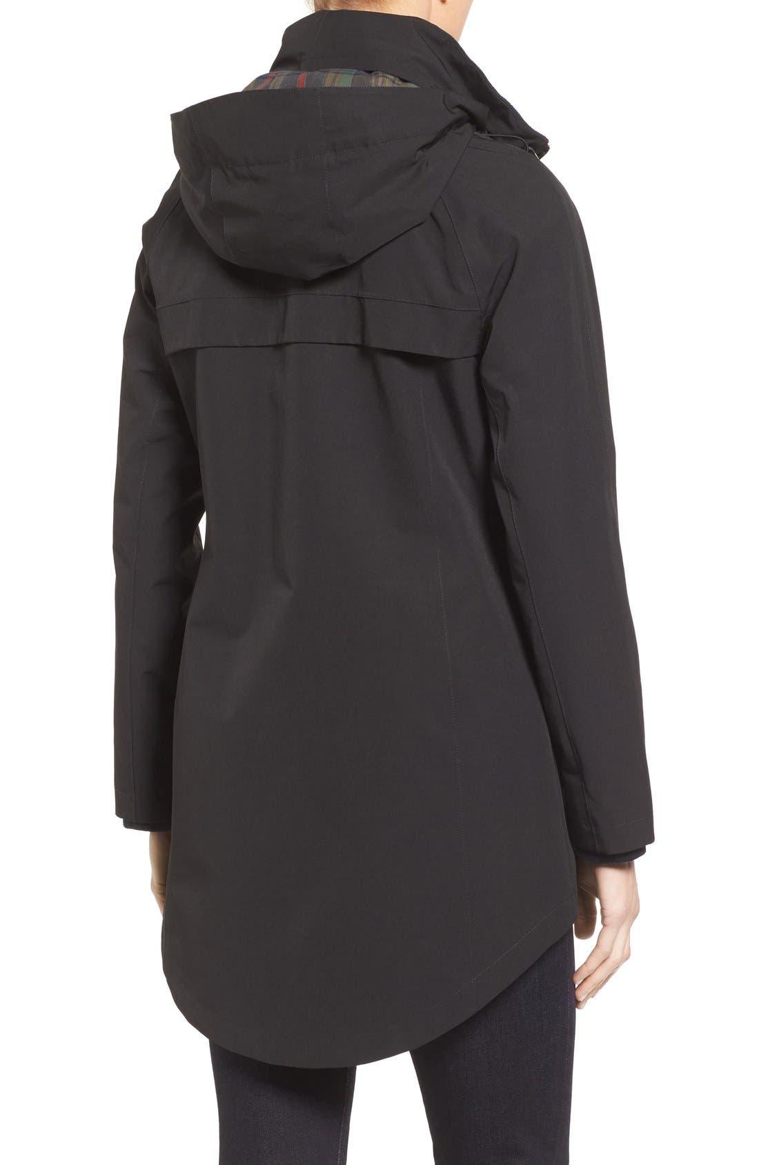 Hooded Raincoat,                             Alternate thumbnail 2, color,                             Black