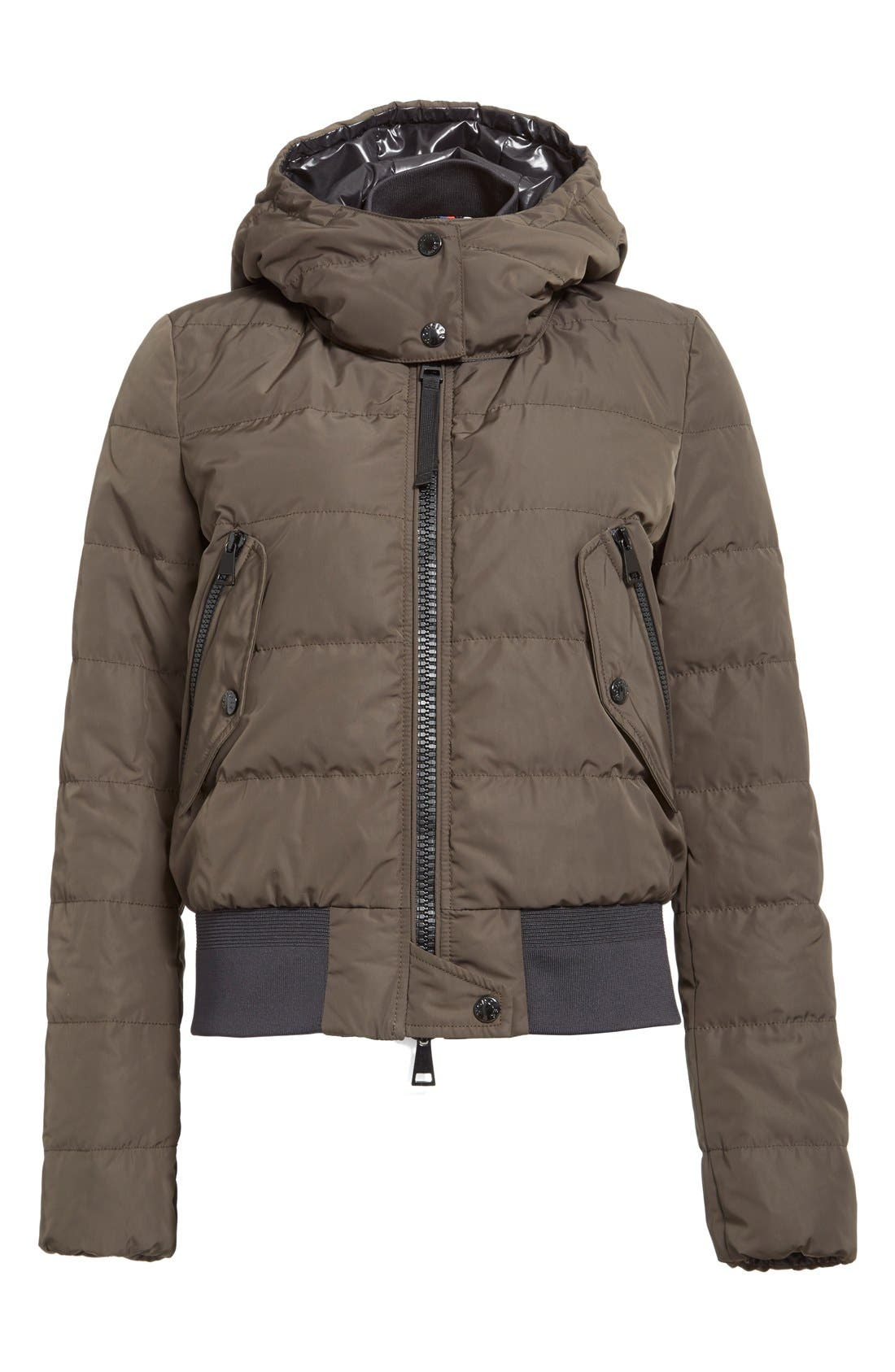 'Agathe' Water Resistant Hooded Down Jacket,                             Alternate thumbnail 4, color,                             Olive