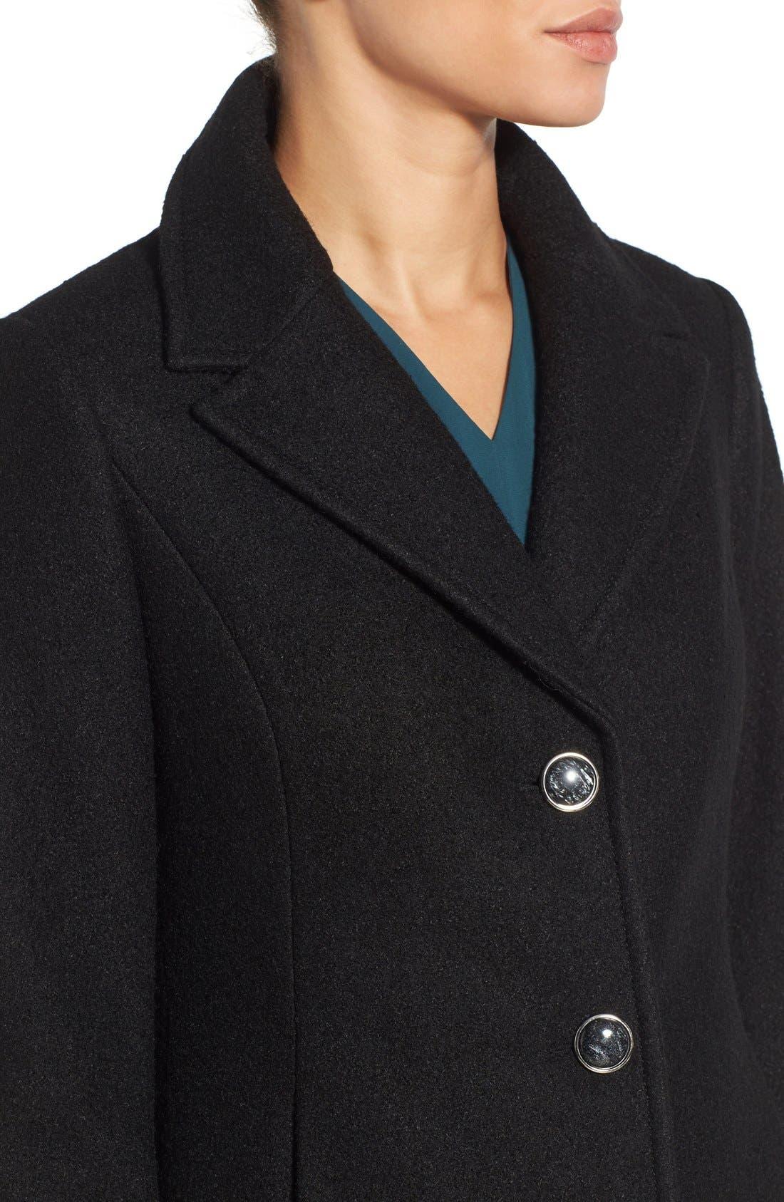 Notch Lapel Peplum Coat,                             Alternate thumbnail 4, color,                             Black