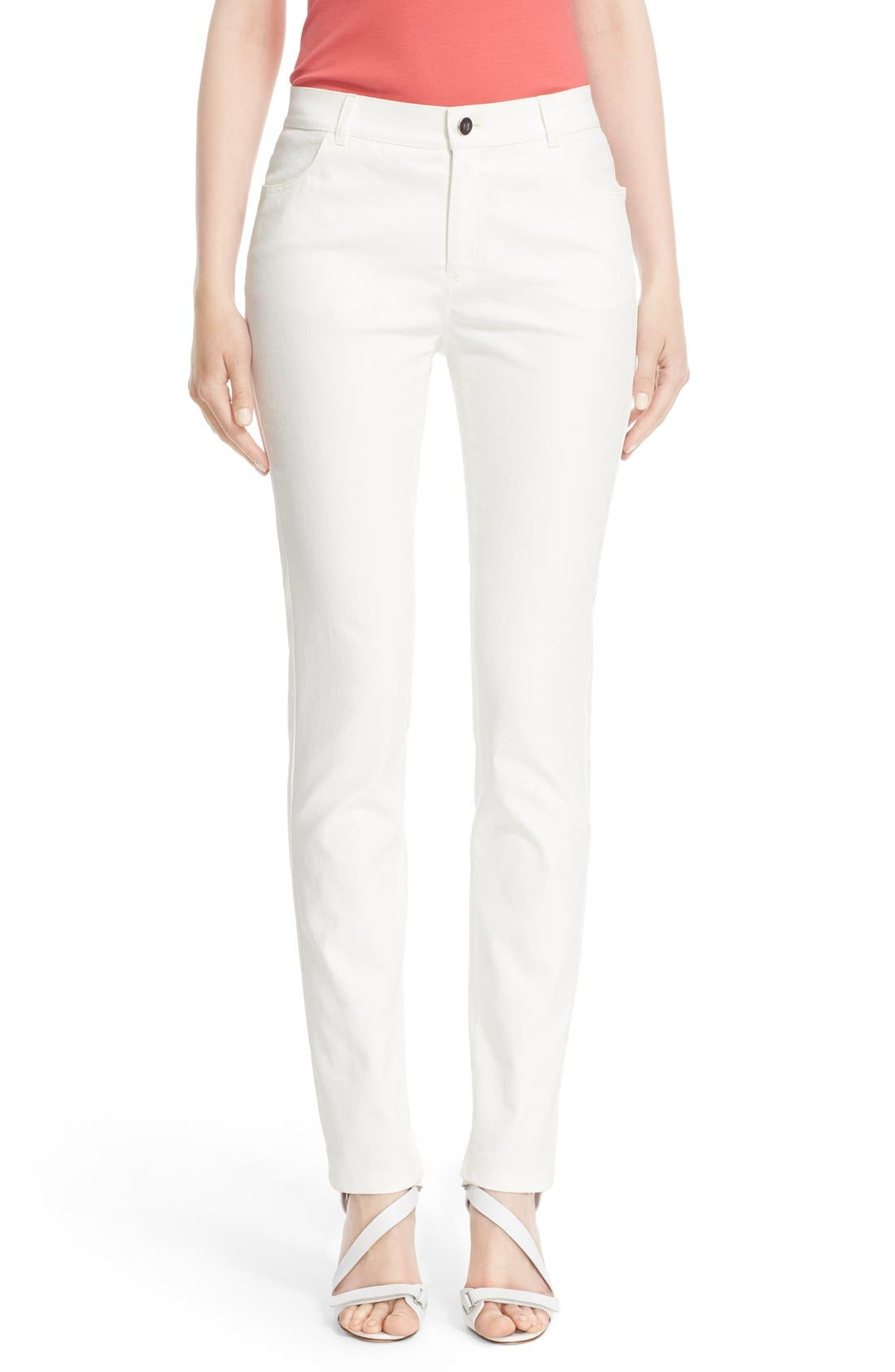 Alternate Image 1 Selected - Lafayette 148 New York Waxed Denim Slim Leg Jeans (Regular & Petite)