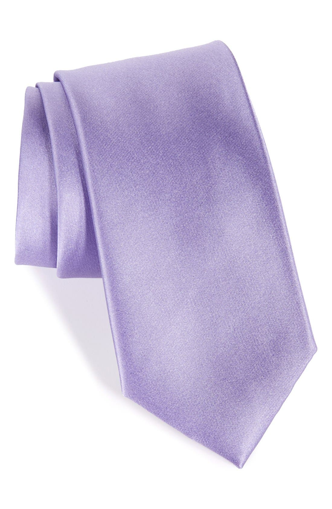 Solid Satin Silk Tie,                             Main thumbnail 1, color,                             Ice Lilac