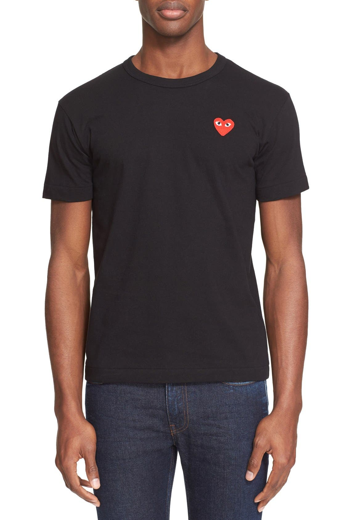 Comme des Garçons PLAY Cotton Jersey Crewneck T-Shirt,                             Main thumbnail 1, color,                             Black