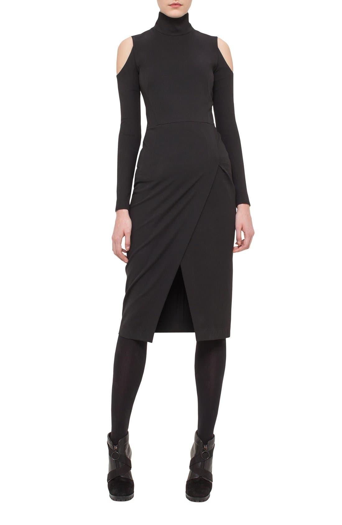 Main Image - Akris punto Cold Shoulder Stretch Jersey Sheath Dress