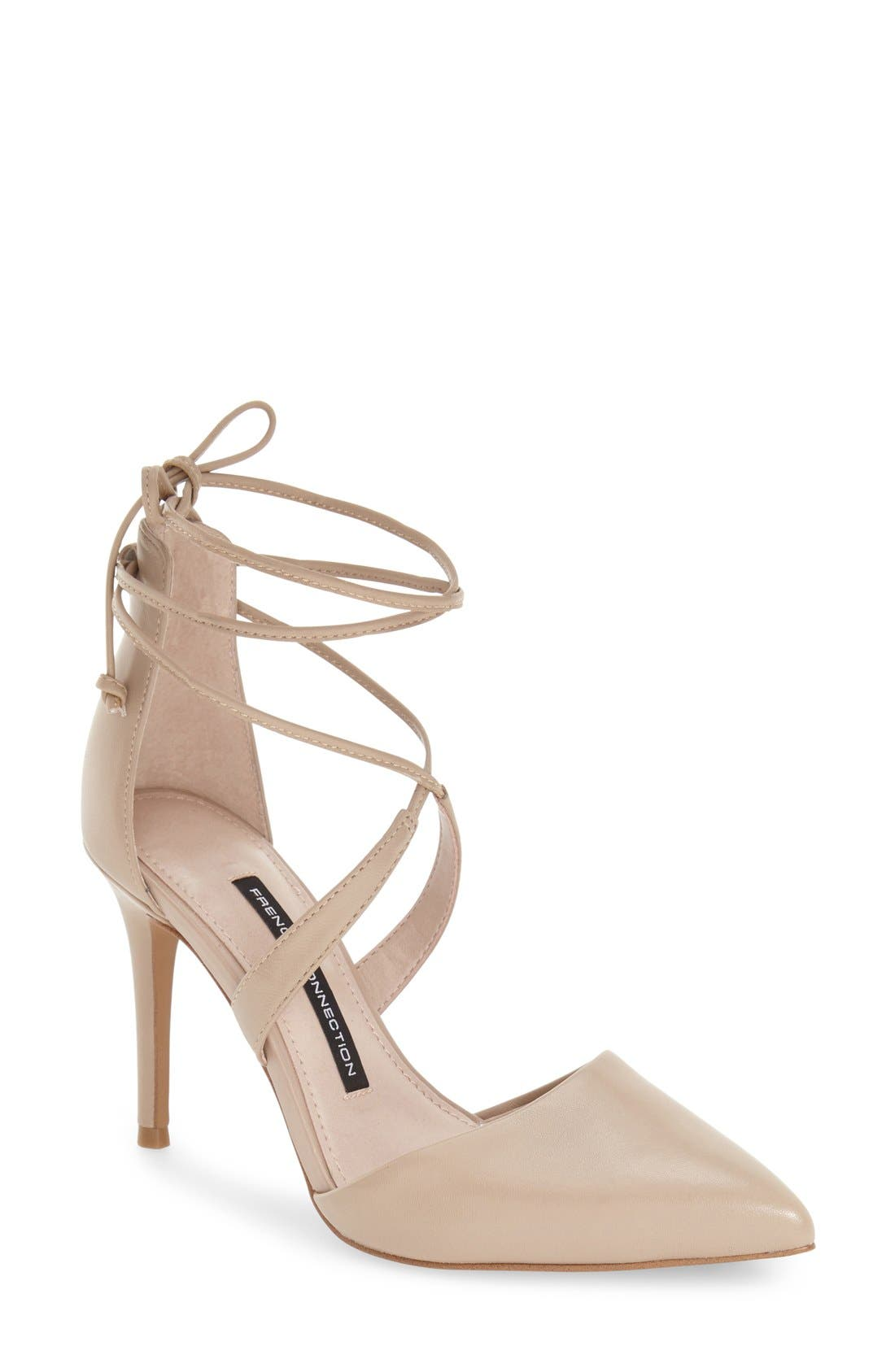 'Elise' d'Orsay Wraparound Lace Pump,                             Main thumbnail 1, color,                             Almost Nude Leather