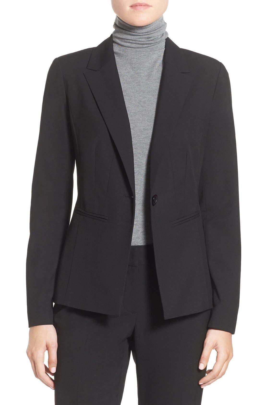 Halogen® 'Ela' One-Button Stretch Suit Jacket (Regular & Petite)