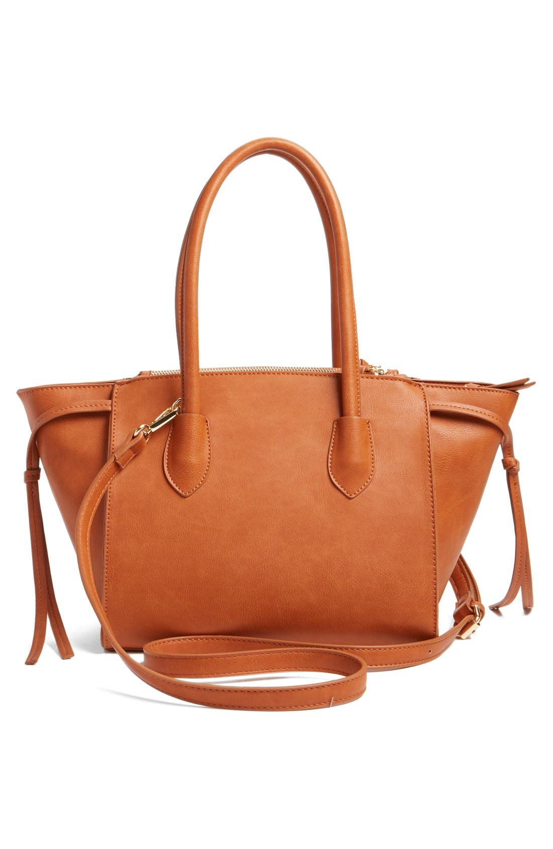 'Farris' Faux Leather Winged Satchel,                             Alternate thumbnail 3, color,                             Cognac