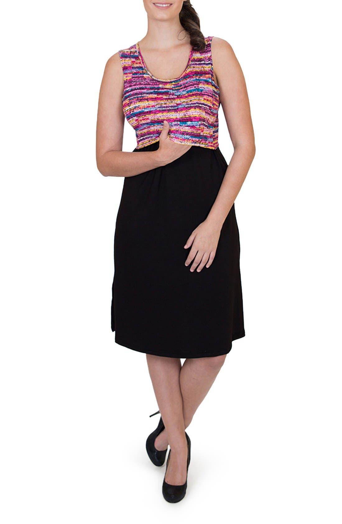 'Ana' Maternity/Nursing Dress,                             Alternate thumbnail 4, color,                             Colorful Top W/ Black Skirt