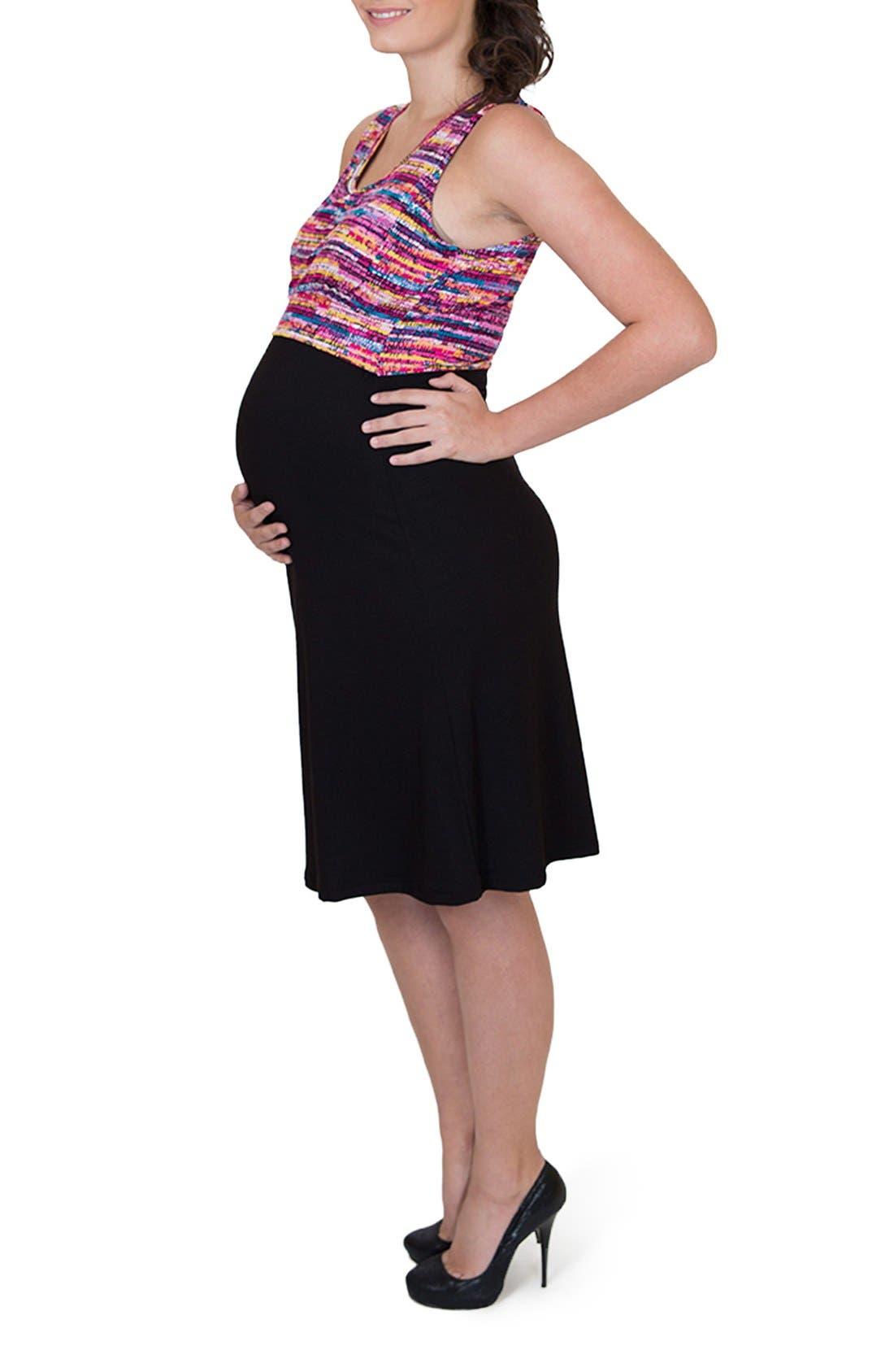 'Ana' Maternity/Nursing Dress,                             Alternate thumbnail 2, color,                             Colorful Top W/ Black Skirt