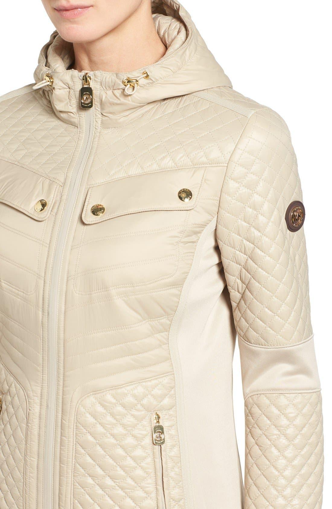 Mixed Media Hooded Zip Front Coat,                             Alternate thumbnail 4, color,                             Khaki