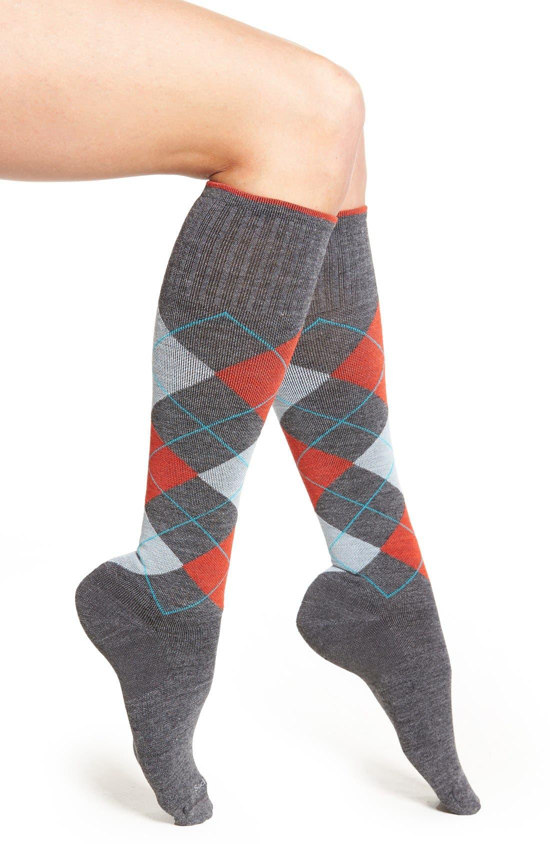 Argyle Compression Knee Socks,                         Main,                         color, Charcoal