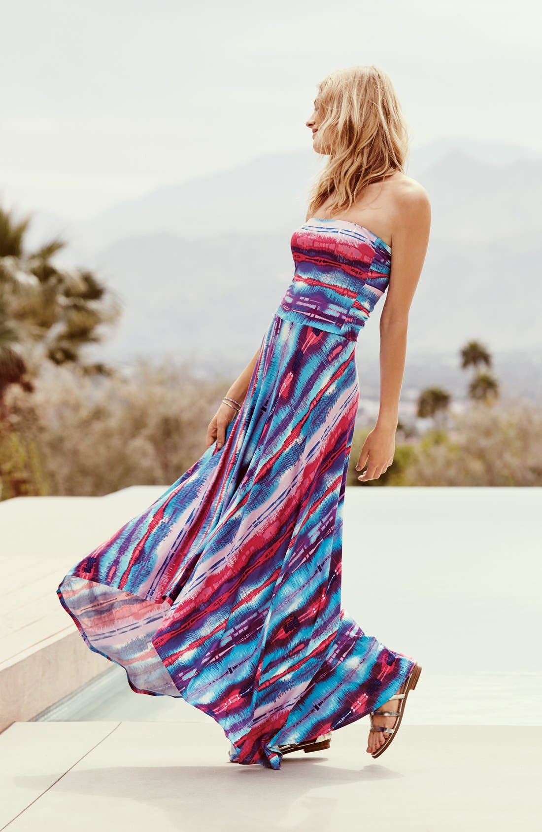 Strapless Neon Print Maxi Dress,                             Alternate thumbnail 2, color,                             Blue Multi