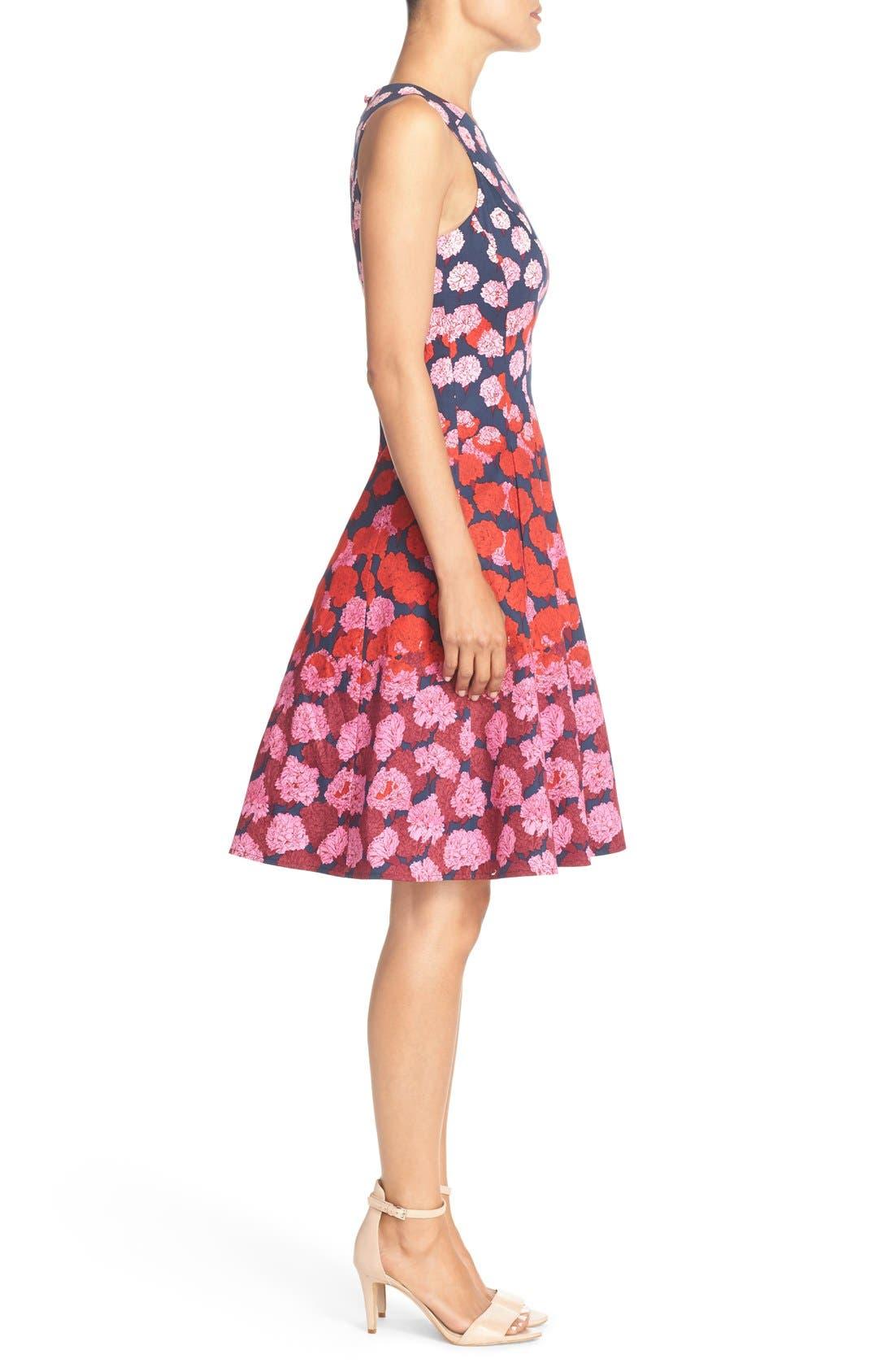 Alternate Image 3  - Maggy London Floral Print Fit & Flare Dress (Regular & Petite)