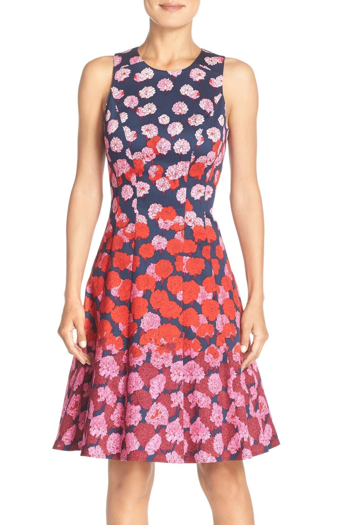 Alternate Image 1 Selected - Maggy London Floral Print Fit & Flare Dress (Regular & Petite)
