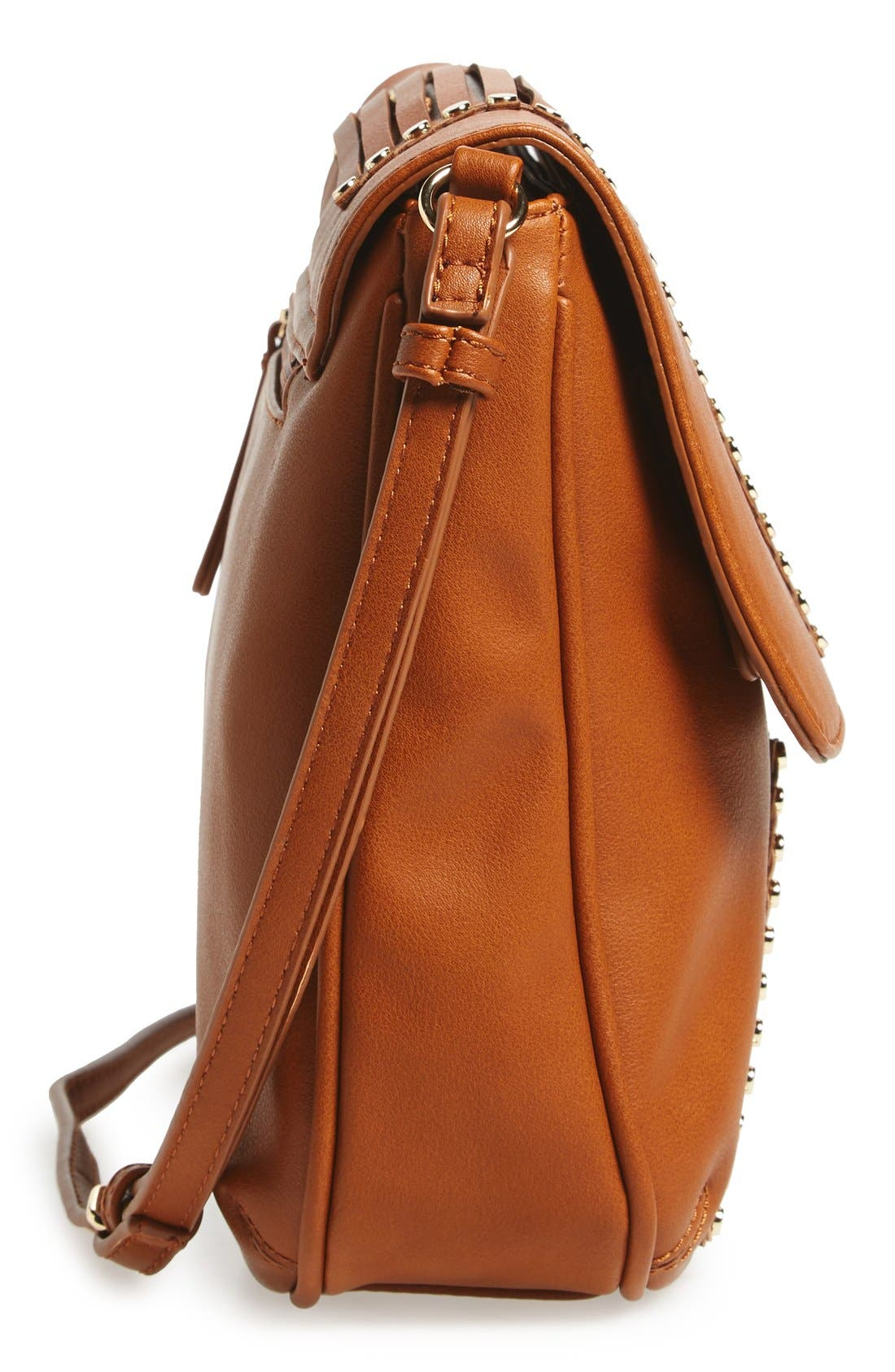 'Larissa' Studded Flap Faux Leather Crossbody Bag,                             Alternate thumbnail 5, color,                             Cognac