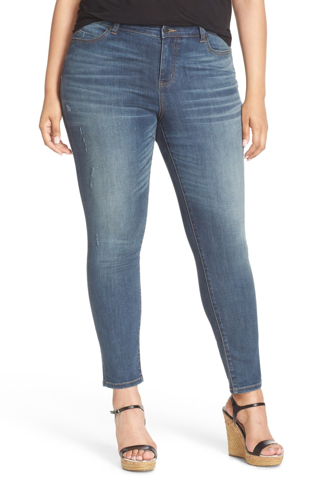 Alternate Image 1 Selected - Caslon® Distressed Stretch Ankle Skinny Jeans (Storm) (Plus Size)