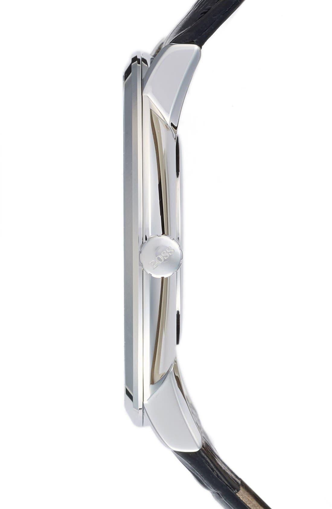 Alternate Image 3  - BOSS Ultra Slim Leather Strap Watch, 40mm