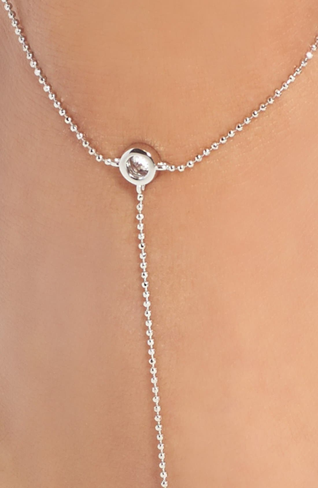 'Salome' Bezel Cubic Zirconia Foot Chain,                             Alternate thumbnail 2, color,                             Silver