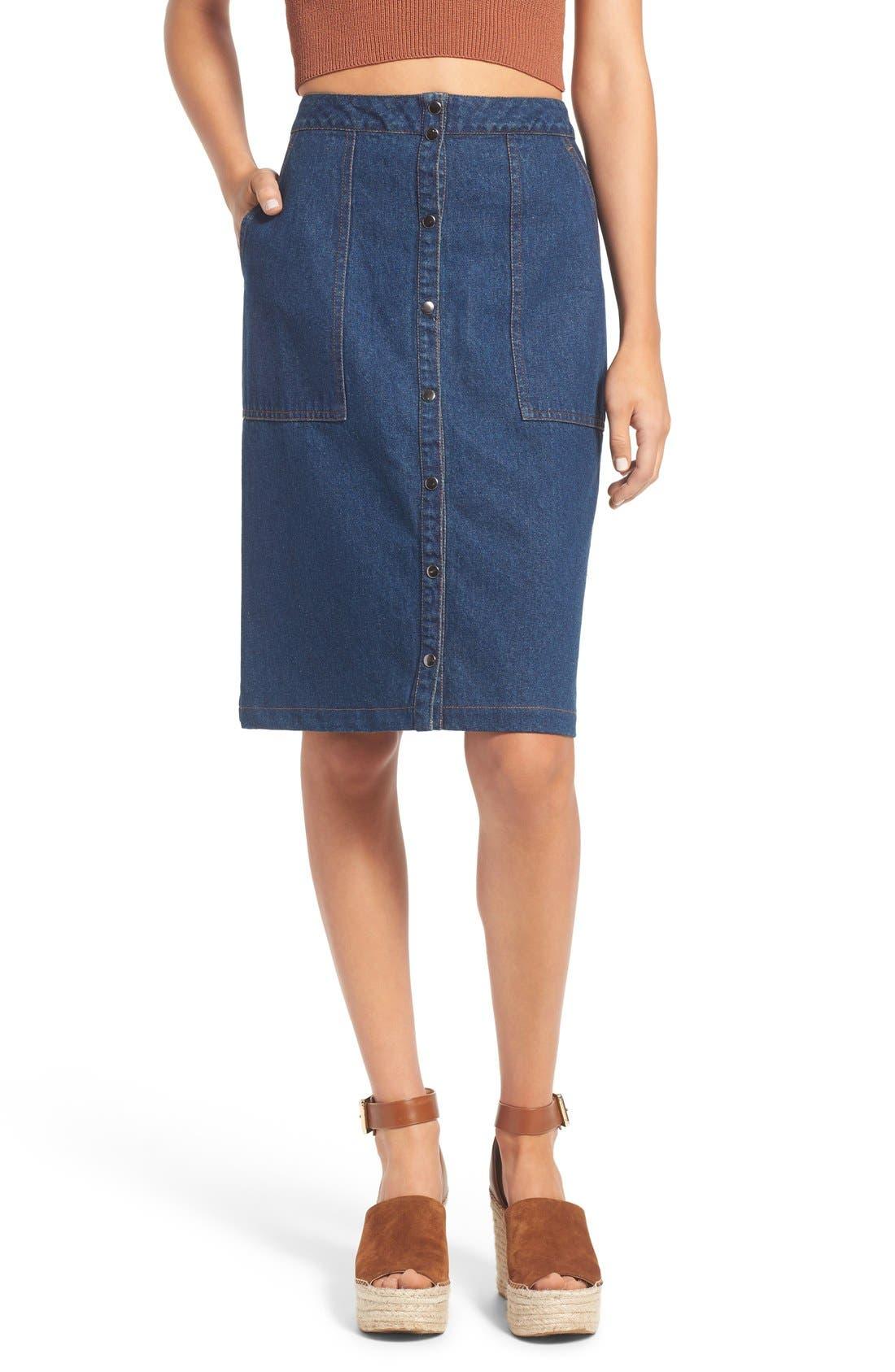 Main Image - ASTR 'Francisca' Button Front Denim Skirt