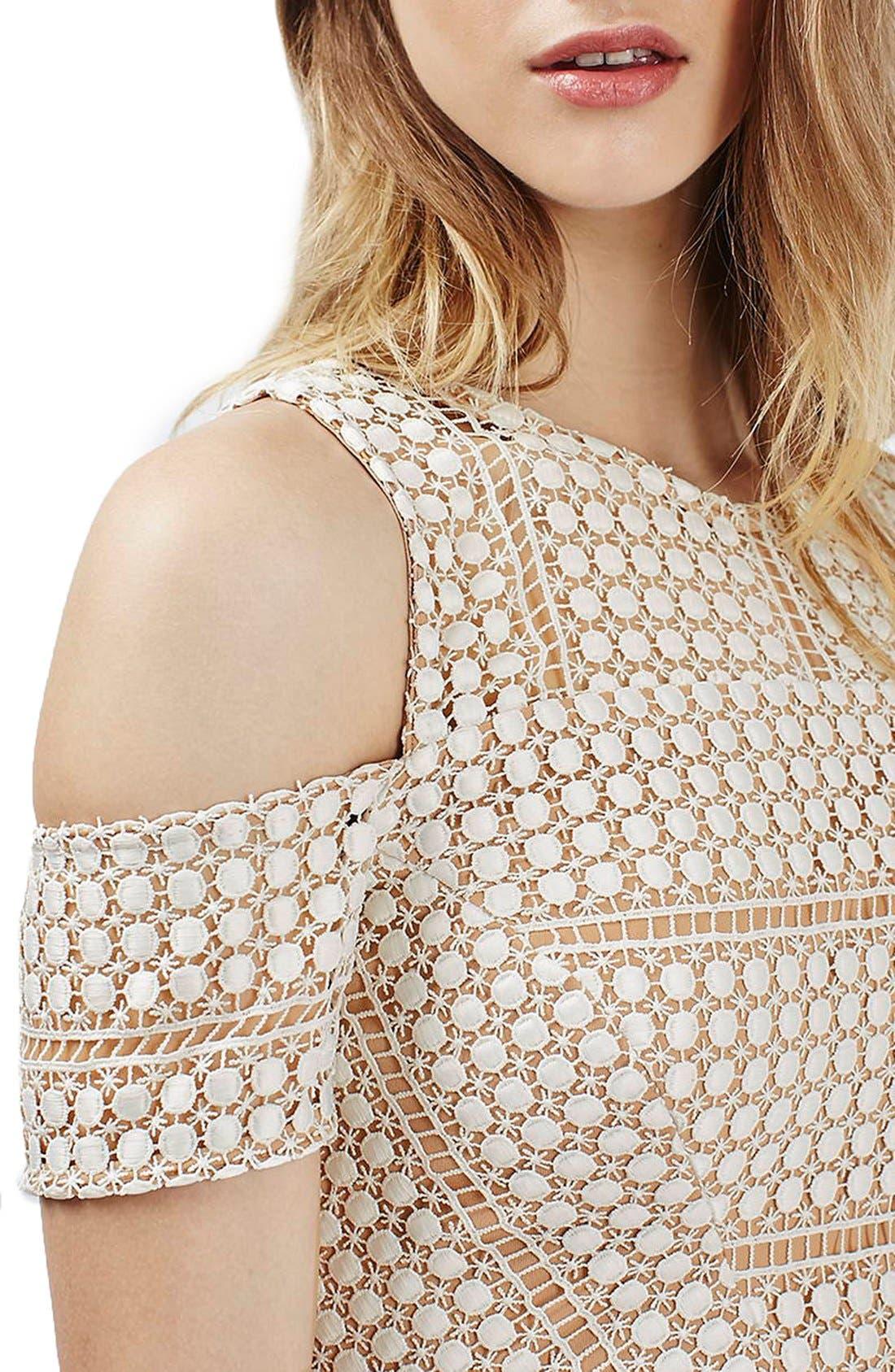 Alternate Image 4  - Topshop Circle Lace Cold Shoulder Dress (Regular & Petite)
