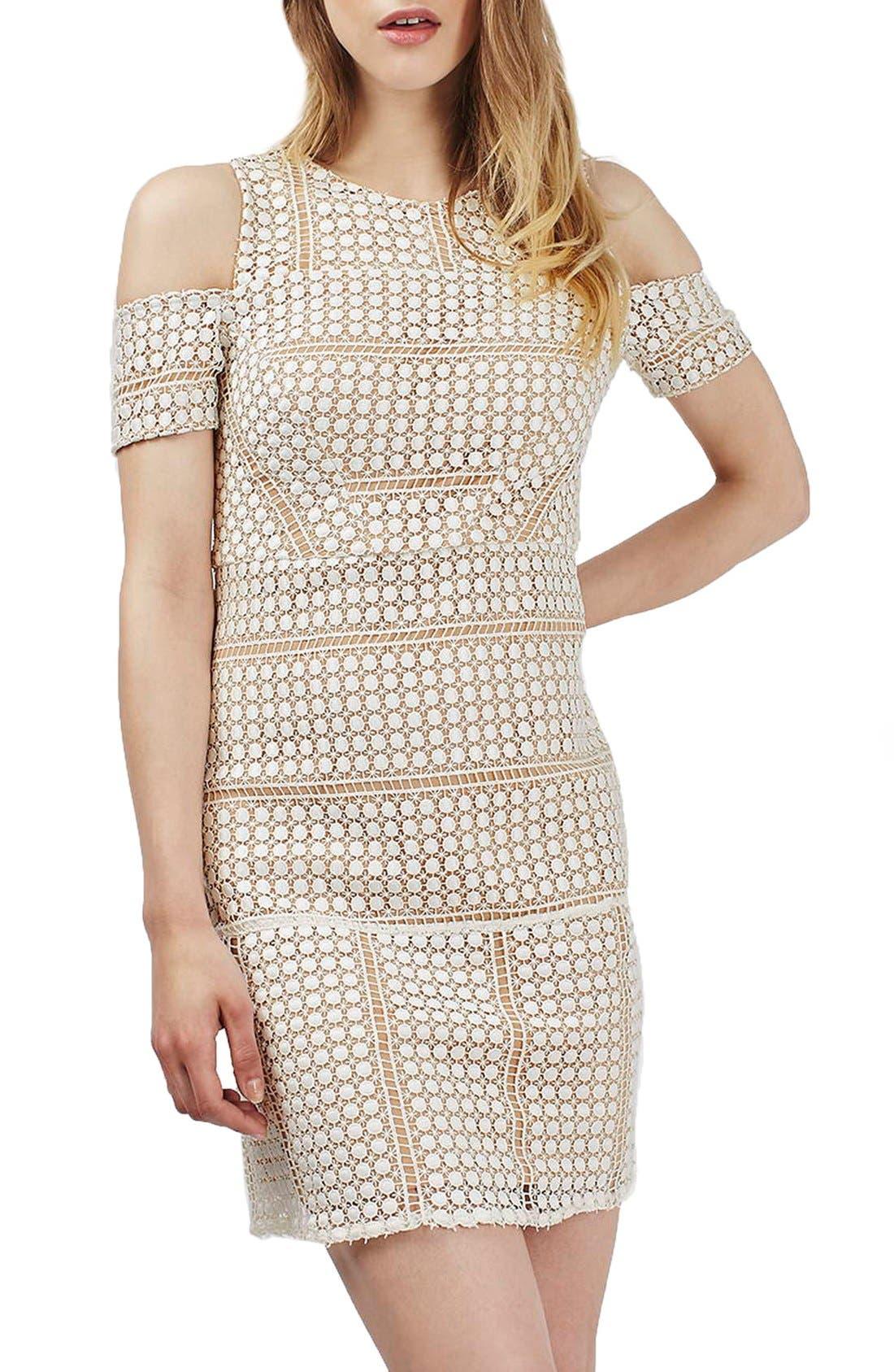 Alternate Image 3  - Topshop Circle Lace Cold Shoulder Dress (Regular & Petite)