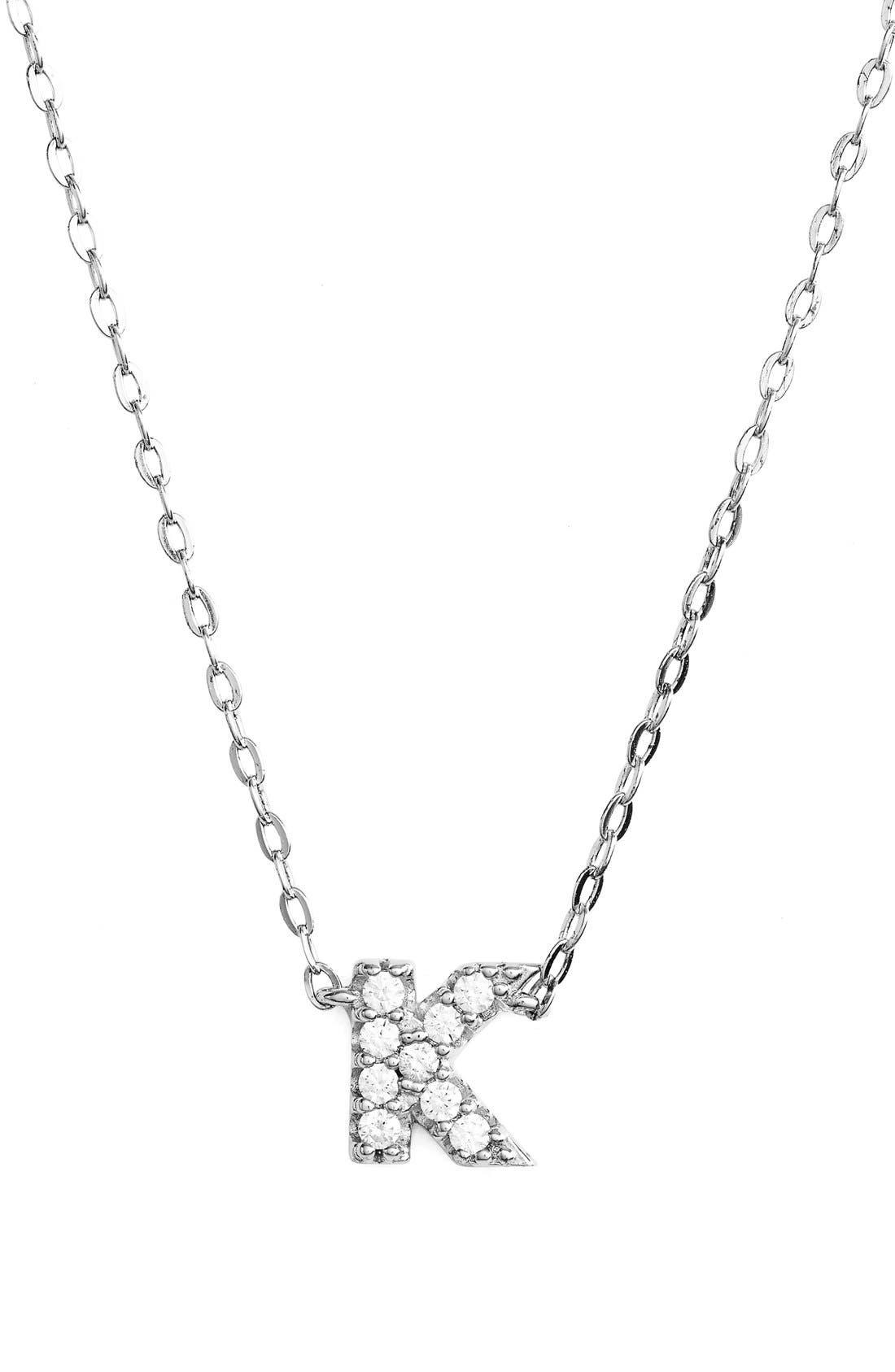 Cubic Zirconia Initial Pendant Necklace,                             Main thumbnail 1, color,                             K Silver