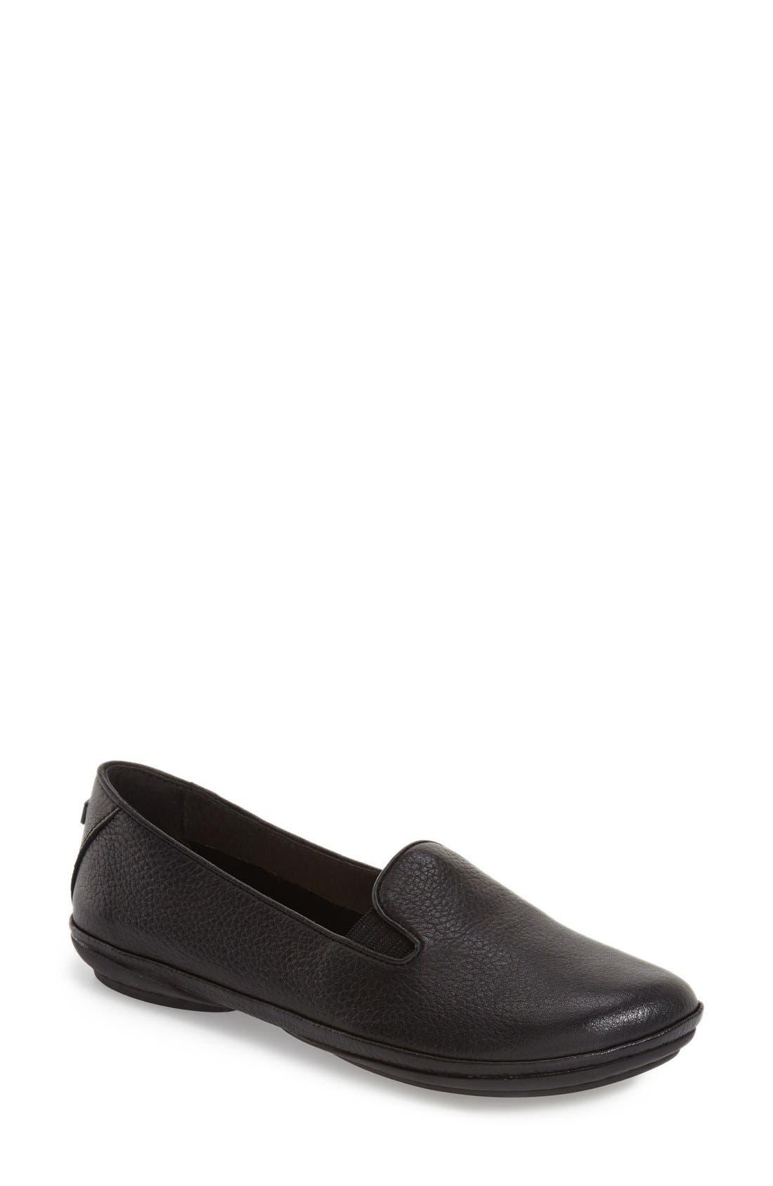 'Right Nina' Leather Flat,                             Main thumbnail 1, color,                             Black/ Black Leather