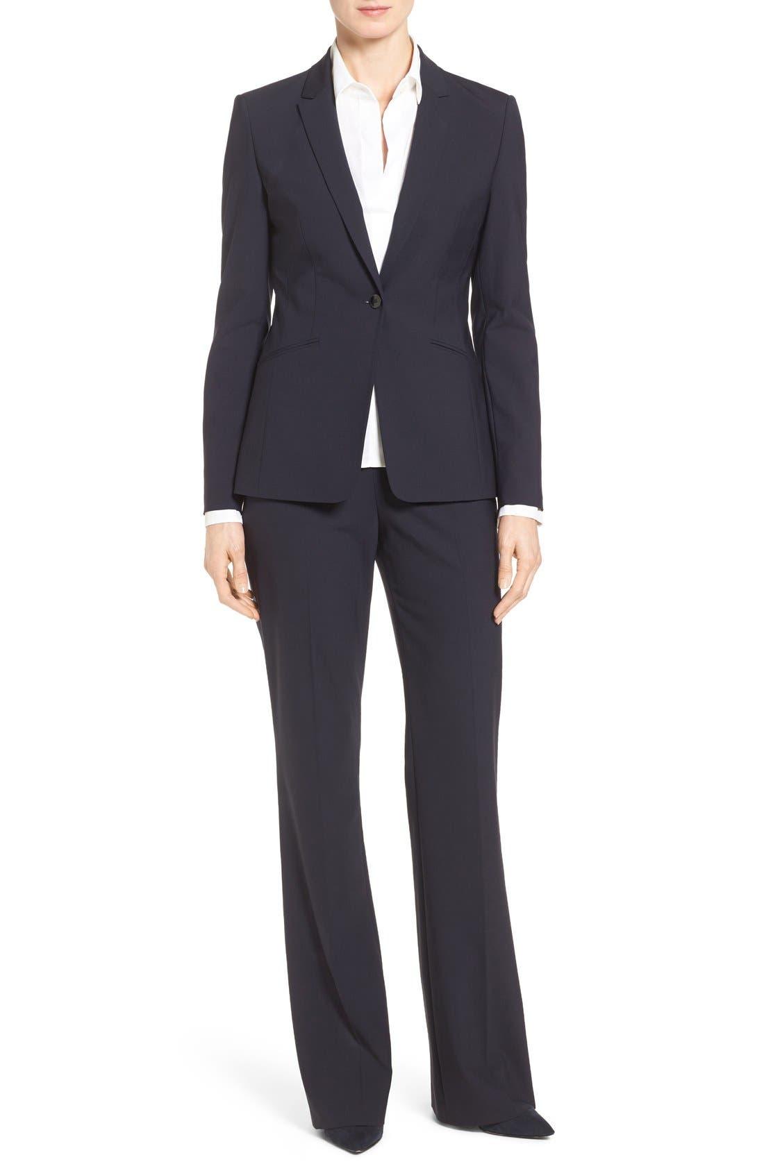 Alternate Image 6  - BOSS Tulea Bootcut Stretch Wool Suit Trousers (Regular & Petite)