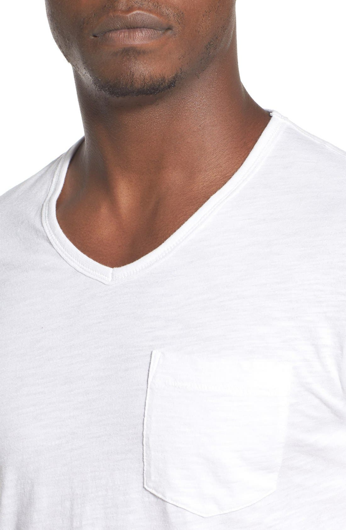 'Bing' V-Neck Pocket T-Shirt,                             Alternate thumbnail 4, color,                             Bright White