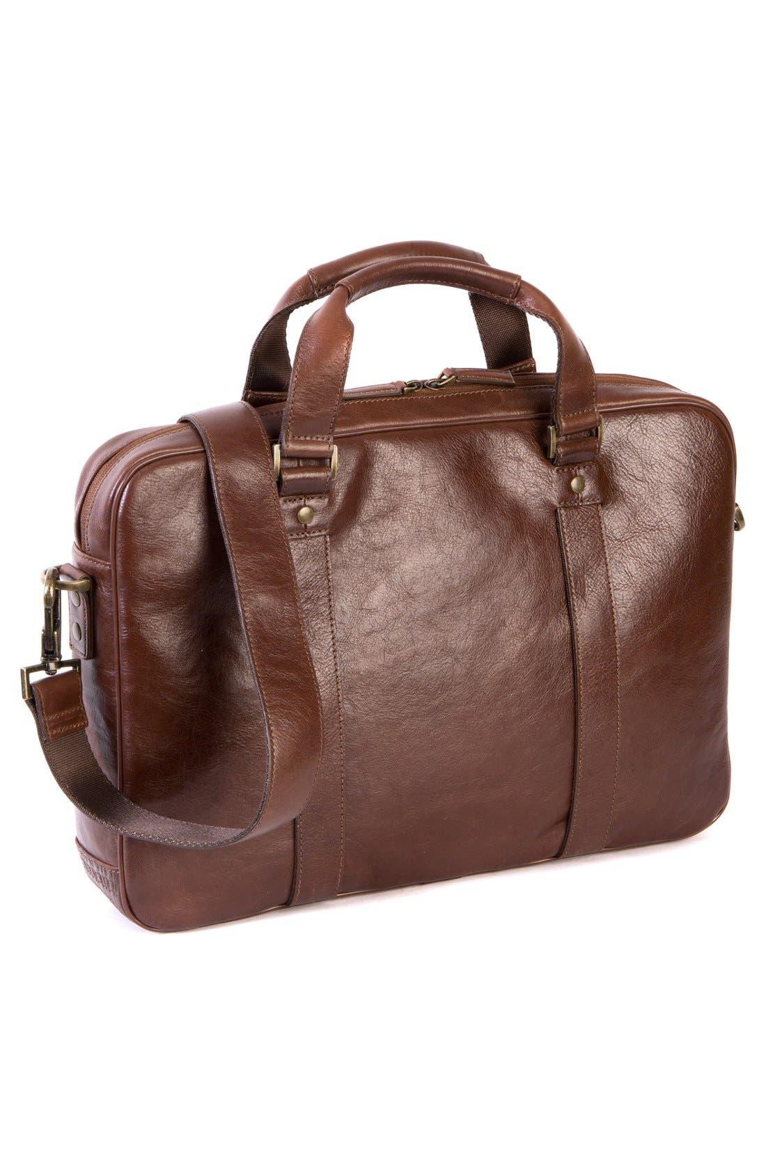 'Becker' Leather Briefcase,                             Alternate thumbnail 5, color,                             Whiskey W/ Khaki