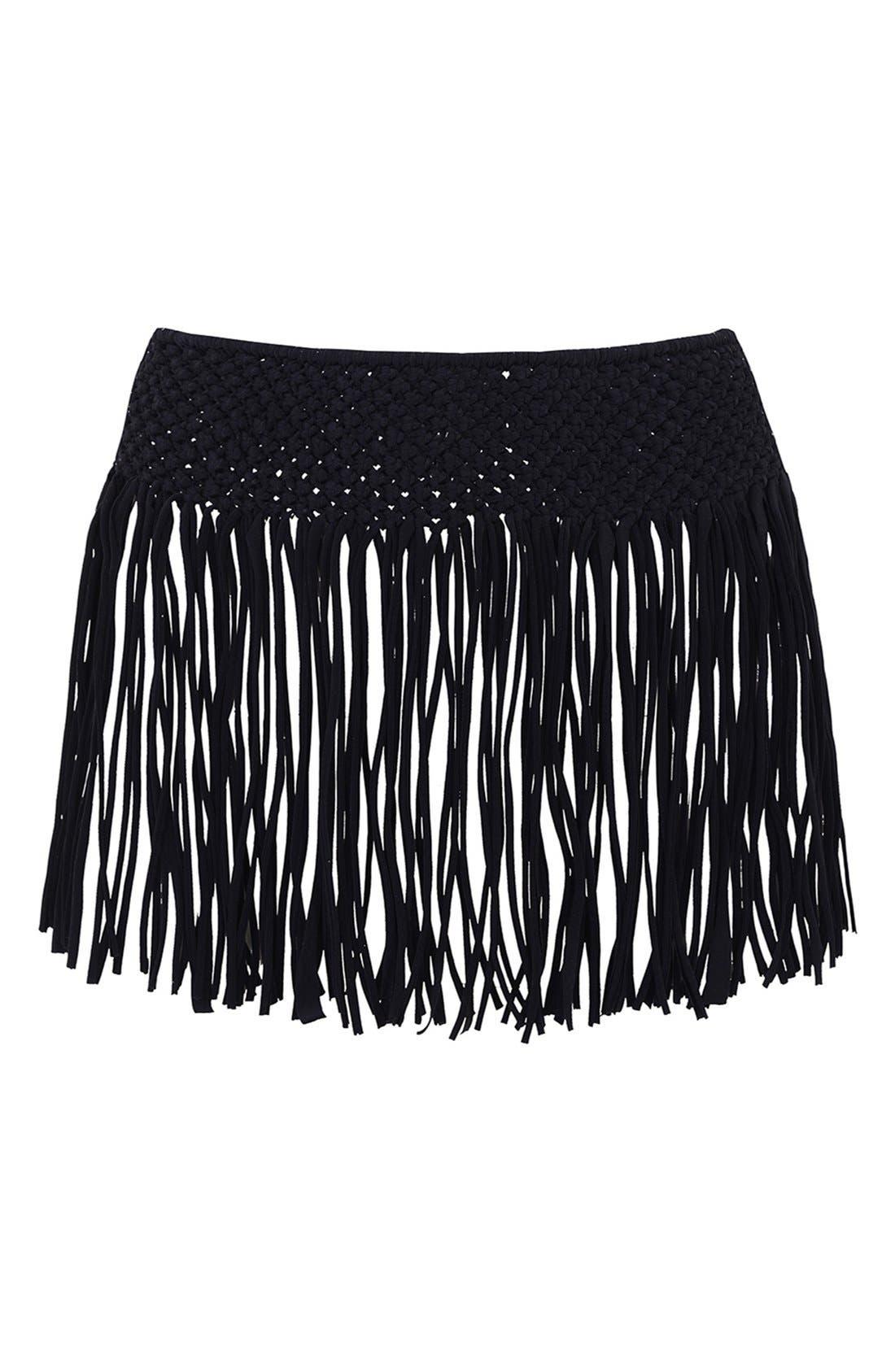 Alternate Image 2  - KENDALL + KYLIE at Topshop Macramé Fringe Cover-Up Skirt