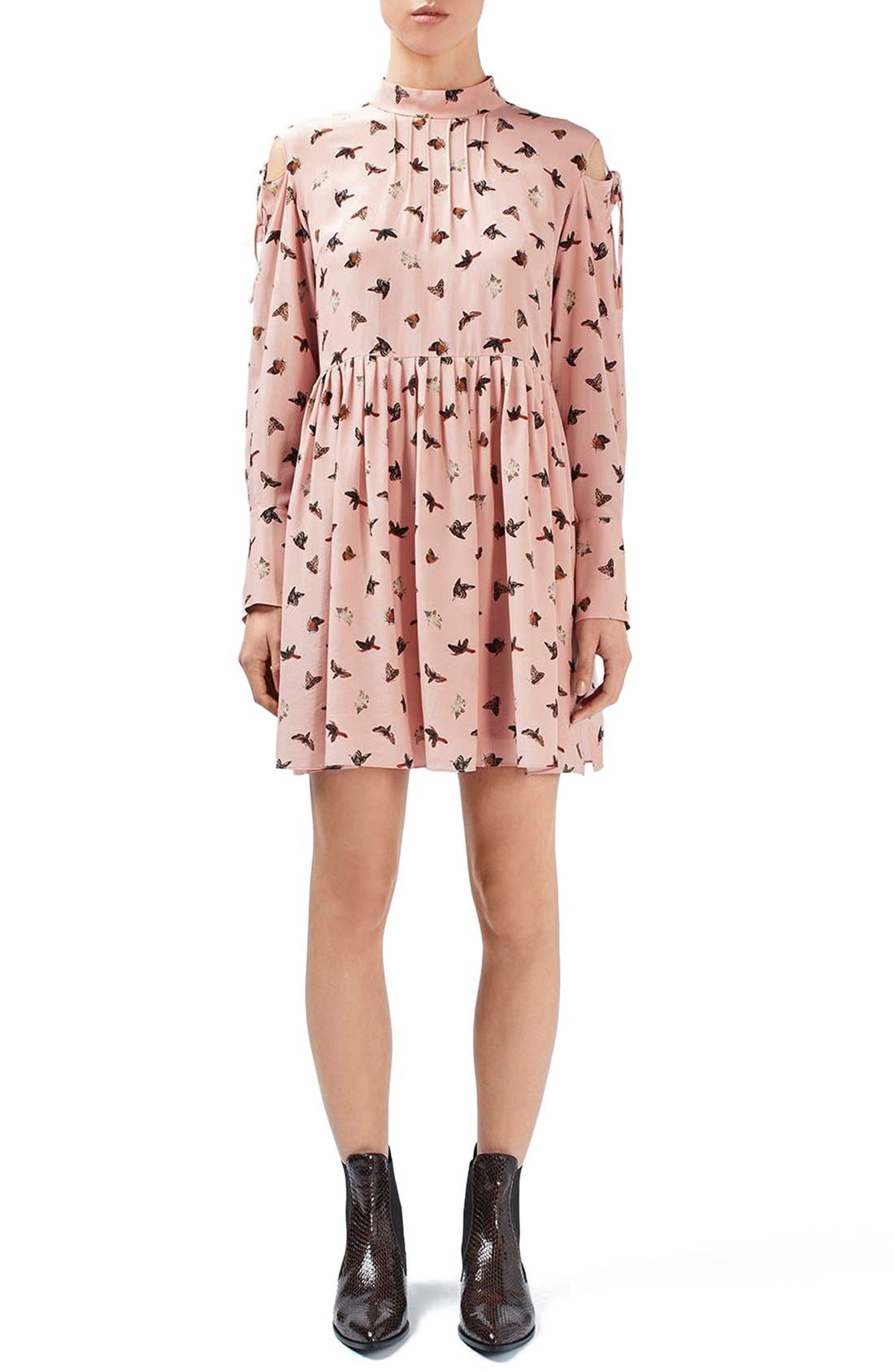 Alternate Image 1 Selected - Topshop Unique 'Campion' Butterfly Print Silk Babydoll Dress
