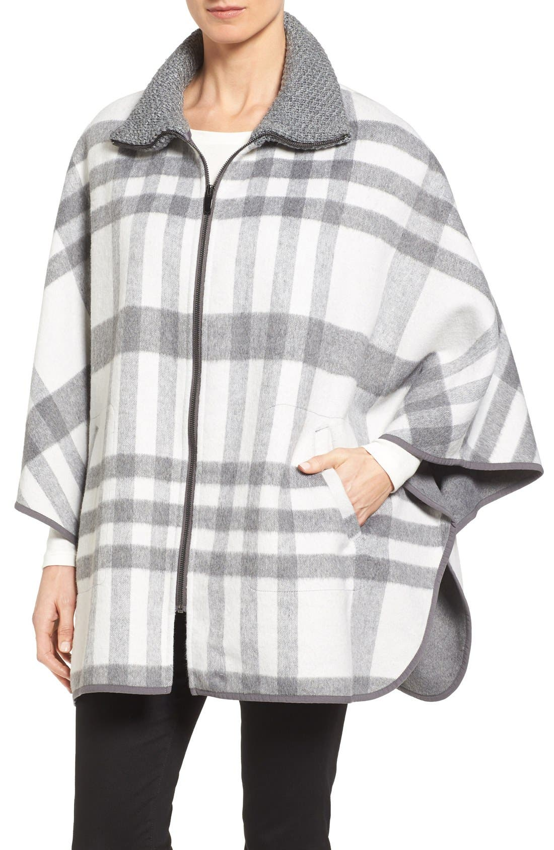 Zip Front Plaid Cape,                         Main,                         color, Ivory/ Grey