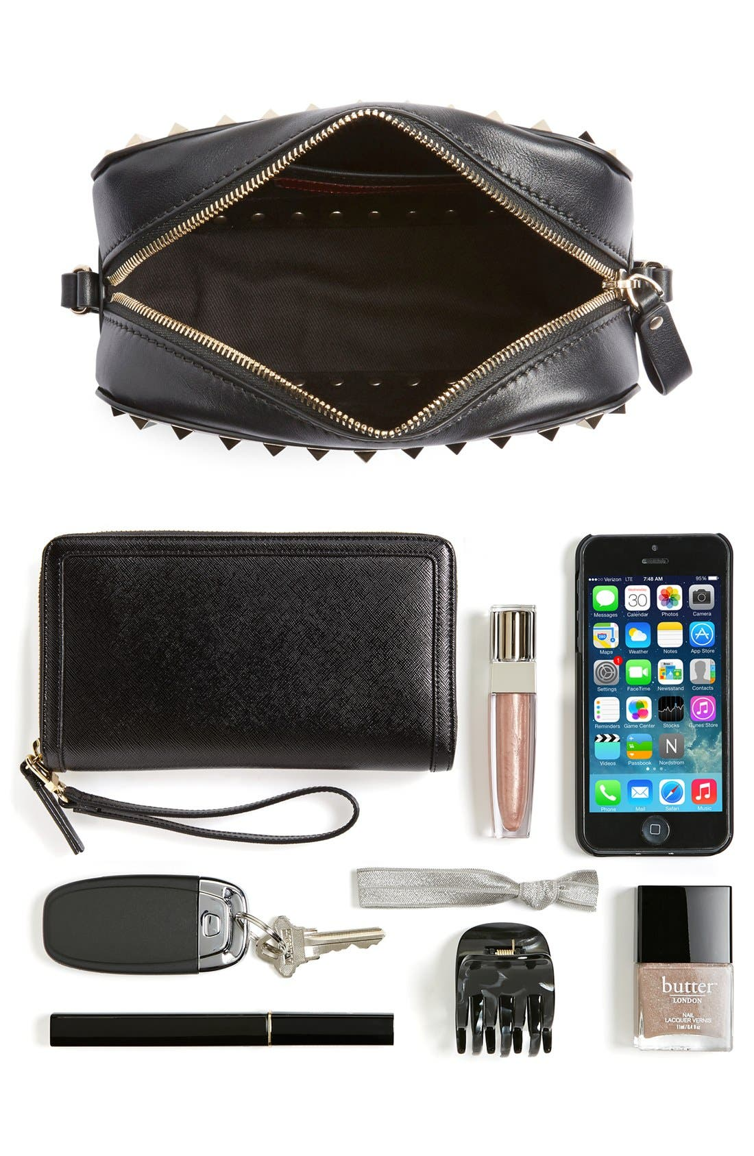Alternate Image 7  - VALENTINO GARAVANI 'Rockstud' Calfskin Leather Camera Crossbody Bag