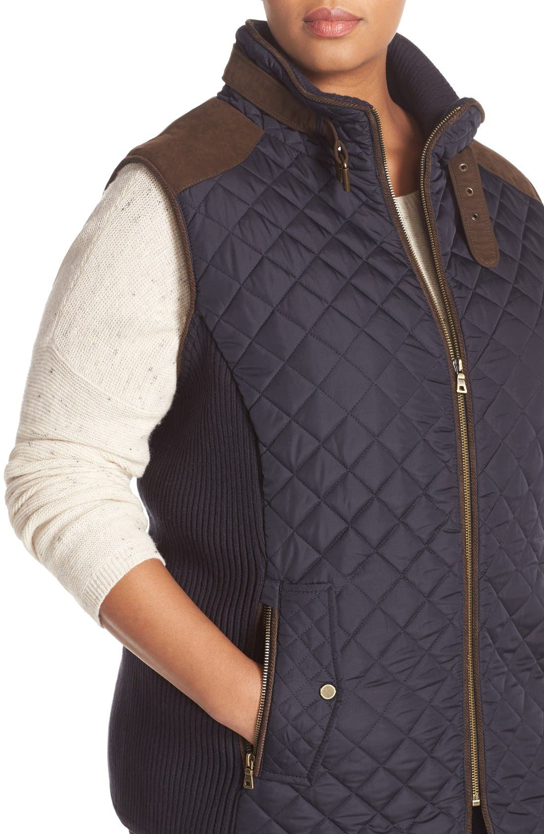 Alternate Image 4  - Gallery Quilted Vest with Faux Suede Trim (Plus Size)