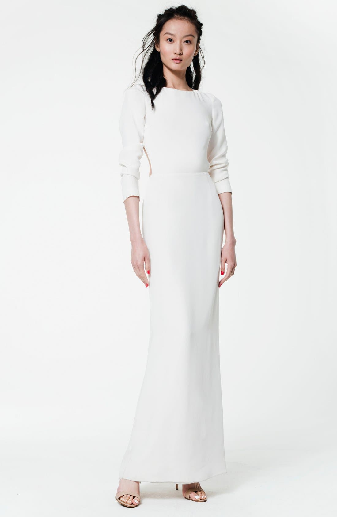 Alternate Image 6  - Houghton 'Cheyne' Open Back Long Sleeve Silk Column Gown