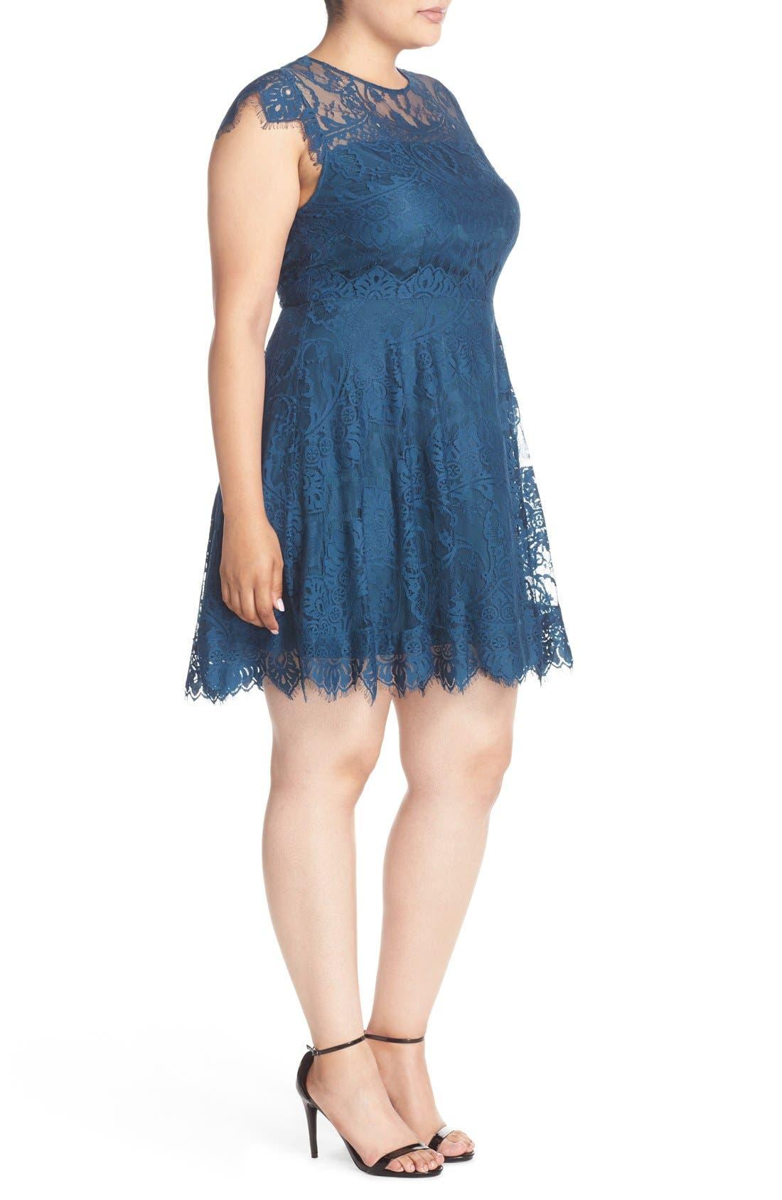 Alternate Image 3  - BB Dakota 'Rhianna' Lace Fit & Flare Dress (Plus Size)
