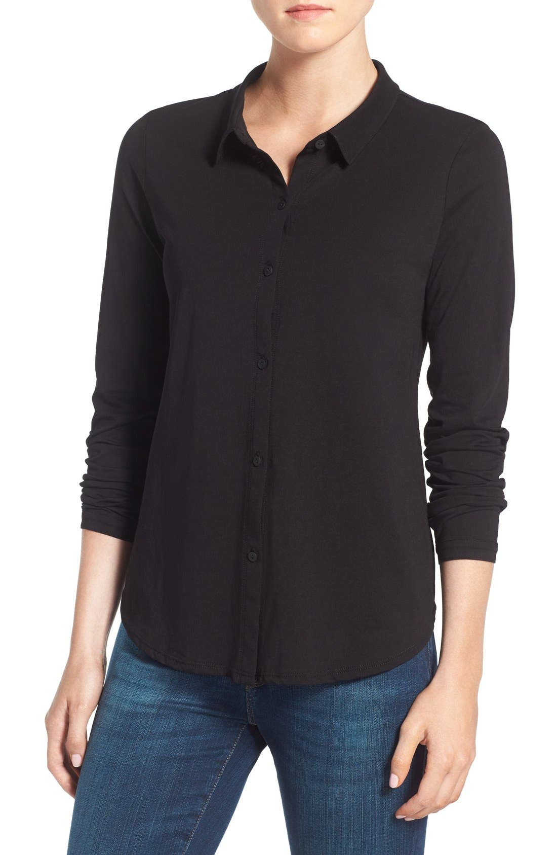 Organic Cotton Jersey Classic Collar Shirt,                         Main,                         color, Black