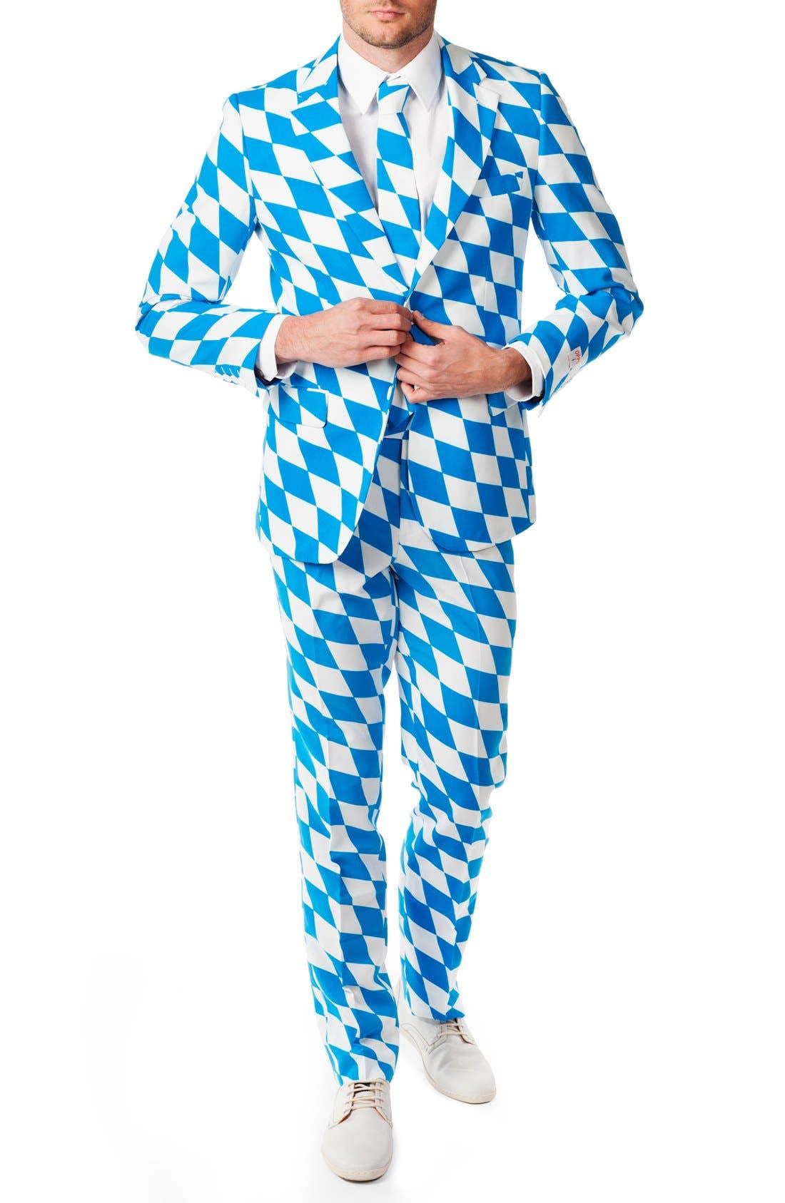 'The Bavarian' Trim Fit Suit with Tie,                         Main,                         color, Blue