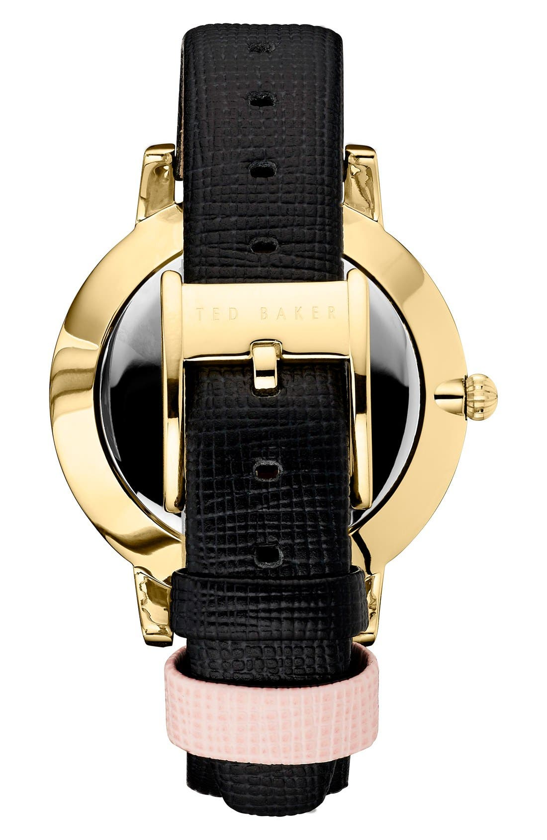 Leather Strap Watch, 40mm,                             Alternate thumbnail 2, color,                             Black/ Pink